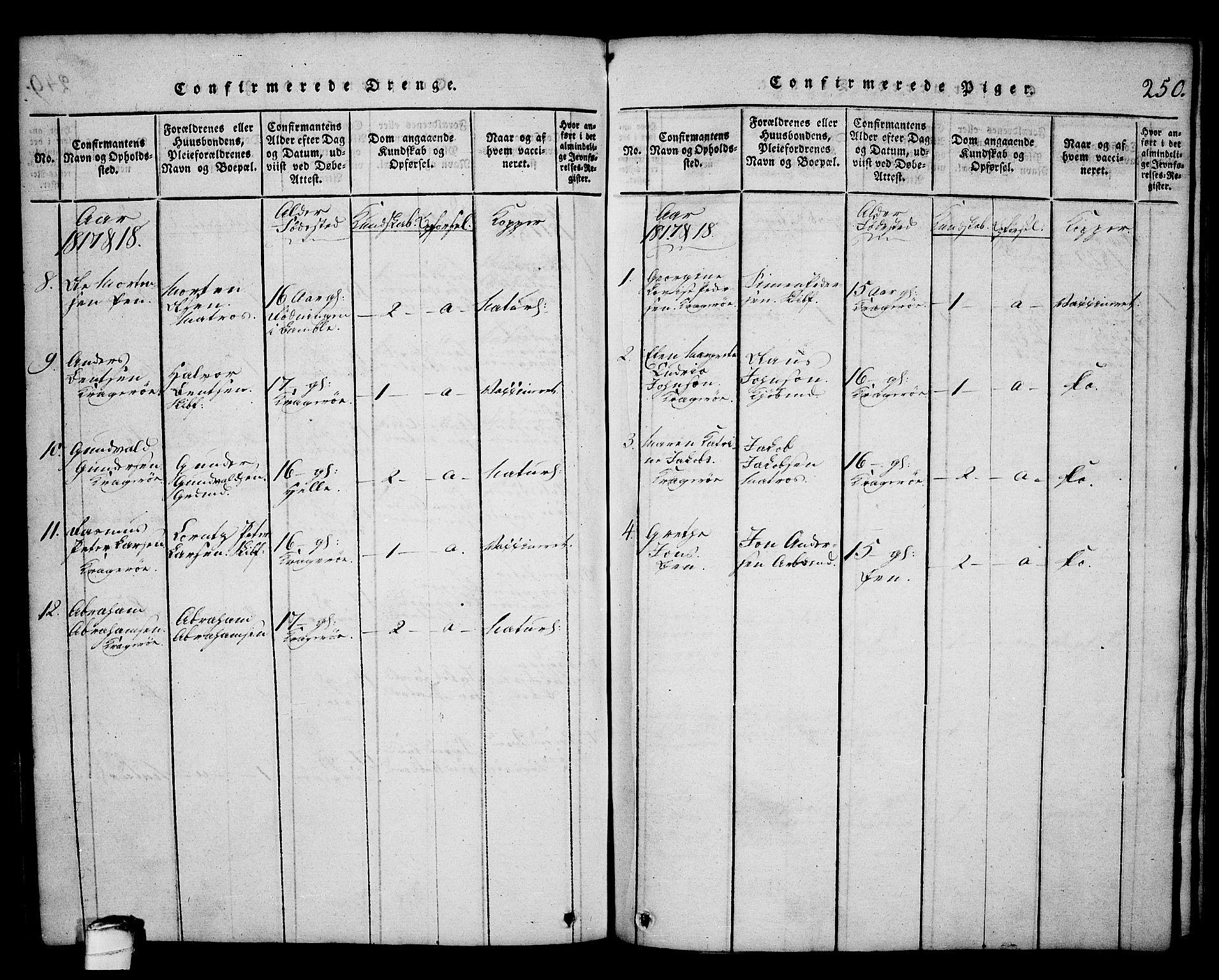 SAKO, Kragerø kirkebøker, G/Ga/L0002: Klokkerbok nr. 2, 1814-1831, s. 250