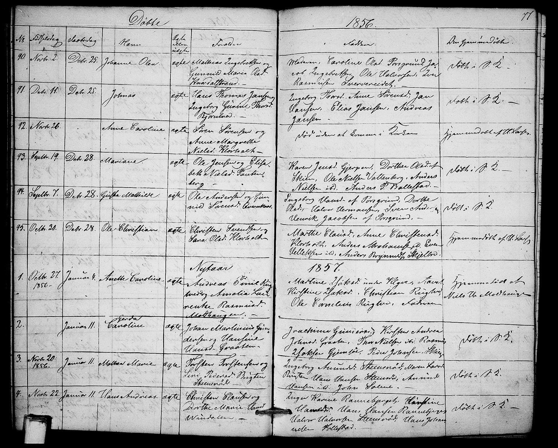 SAKO, Solum kirkebøker, G/Ga/L0003: Klokkerbok nr. I 3, 1848-1859, s. 77