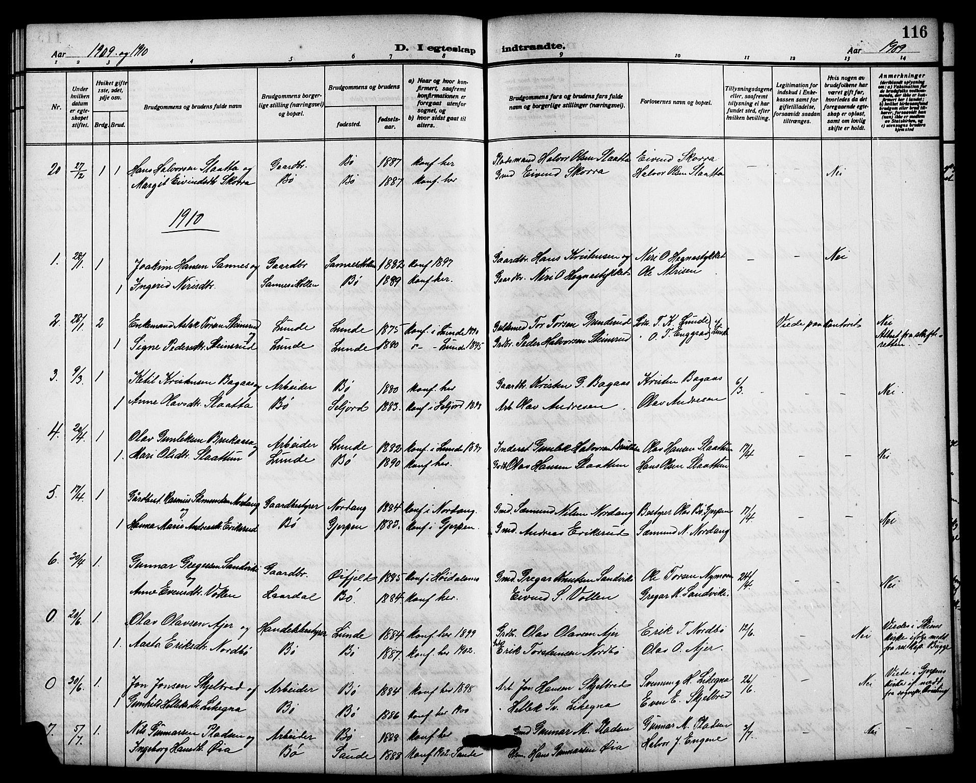 SAKO, Bø kirkebøker, G/Ga/L0007: Klokkerbok nr. 7, 1909-1924, s. 116