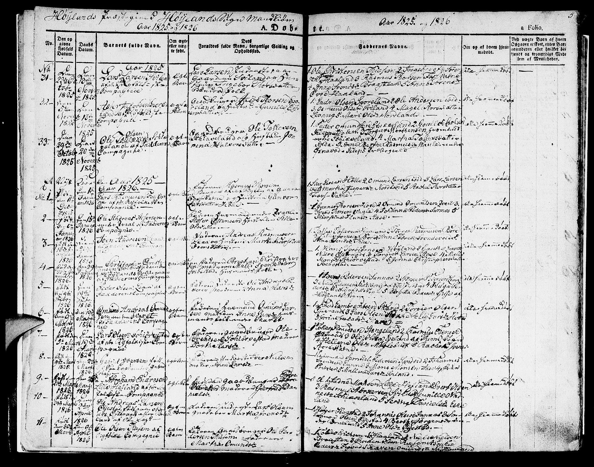 SAST, Høyland sokneprestkontor, 30BA/L0007: Ministerialbok nr. A 7 /1, 1825-1841, s. 5
