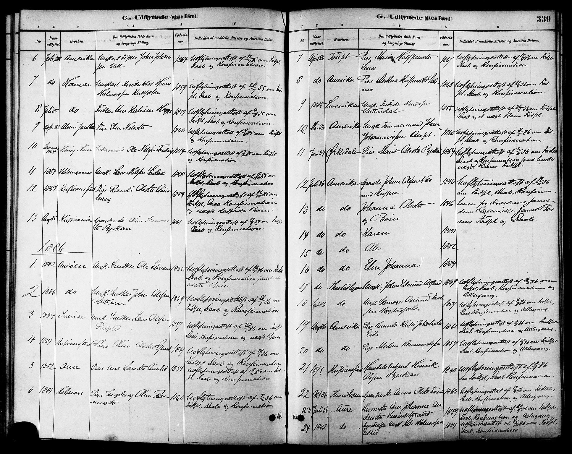 SAT, Ministerialprotokoller, klokkerbøker og fødselsregistre - Sør-Trøndelag, 630/L0496: Ministerialbok nr. 630A09, 1879-1895, s. 339