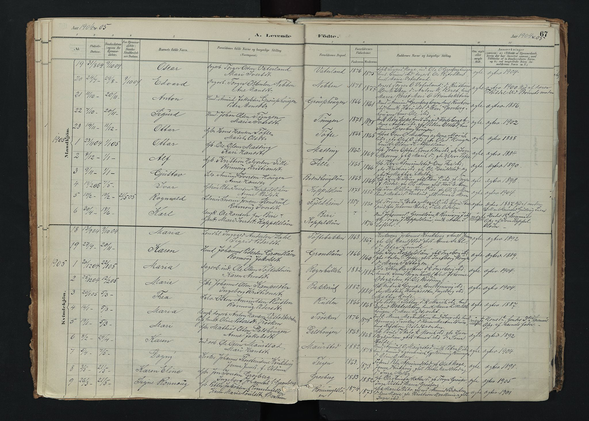 SAH, Nord-Fron prestekontor, Ministerialbok nr. 5, 1884-1914, s. 67