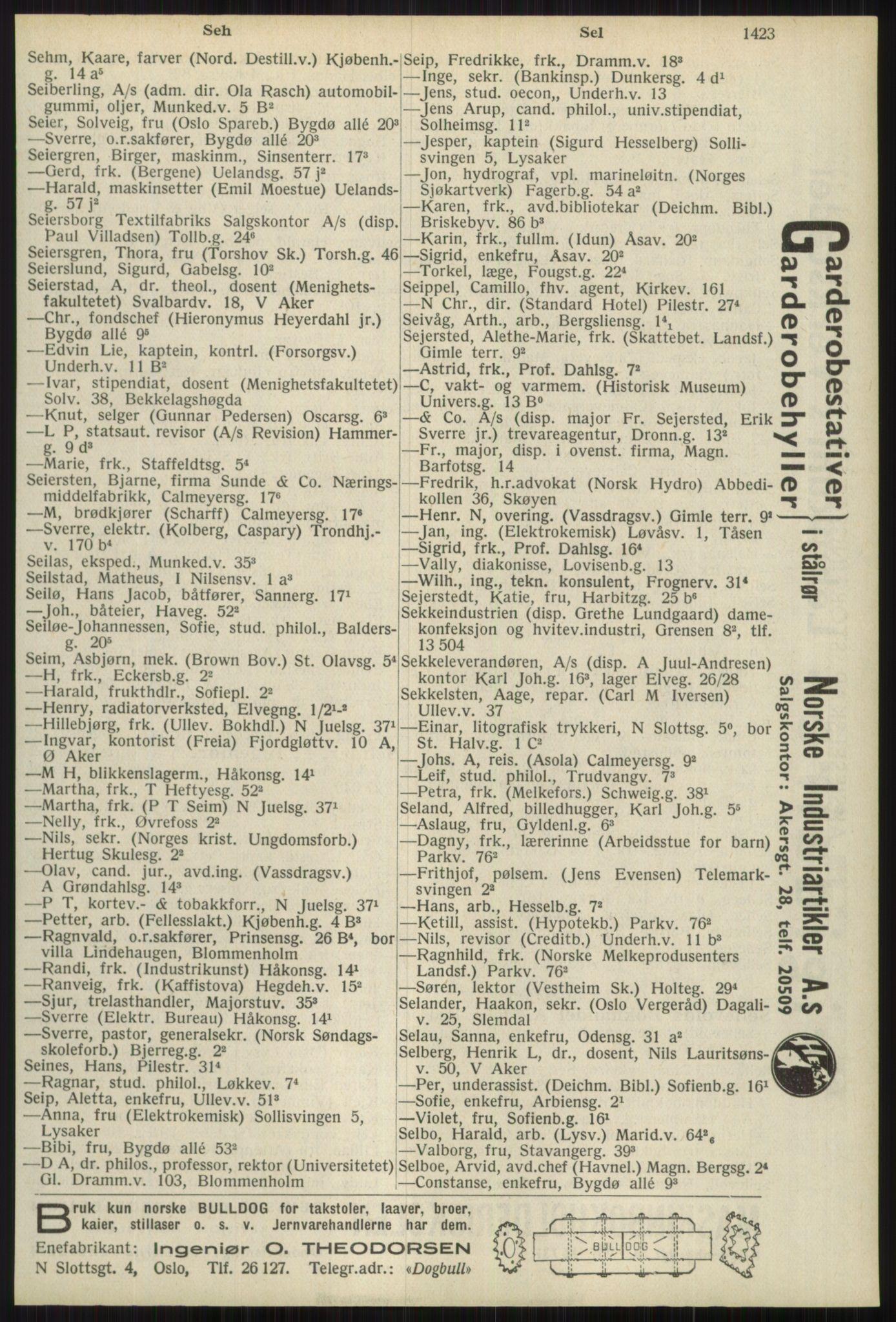 RA, Oslo adressebok (publikasjon)*, 1939, s. 1423