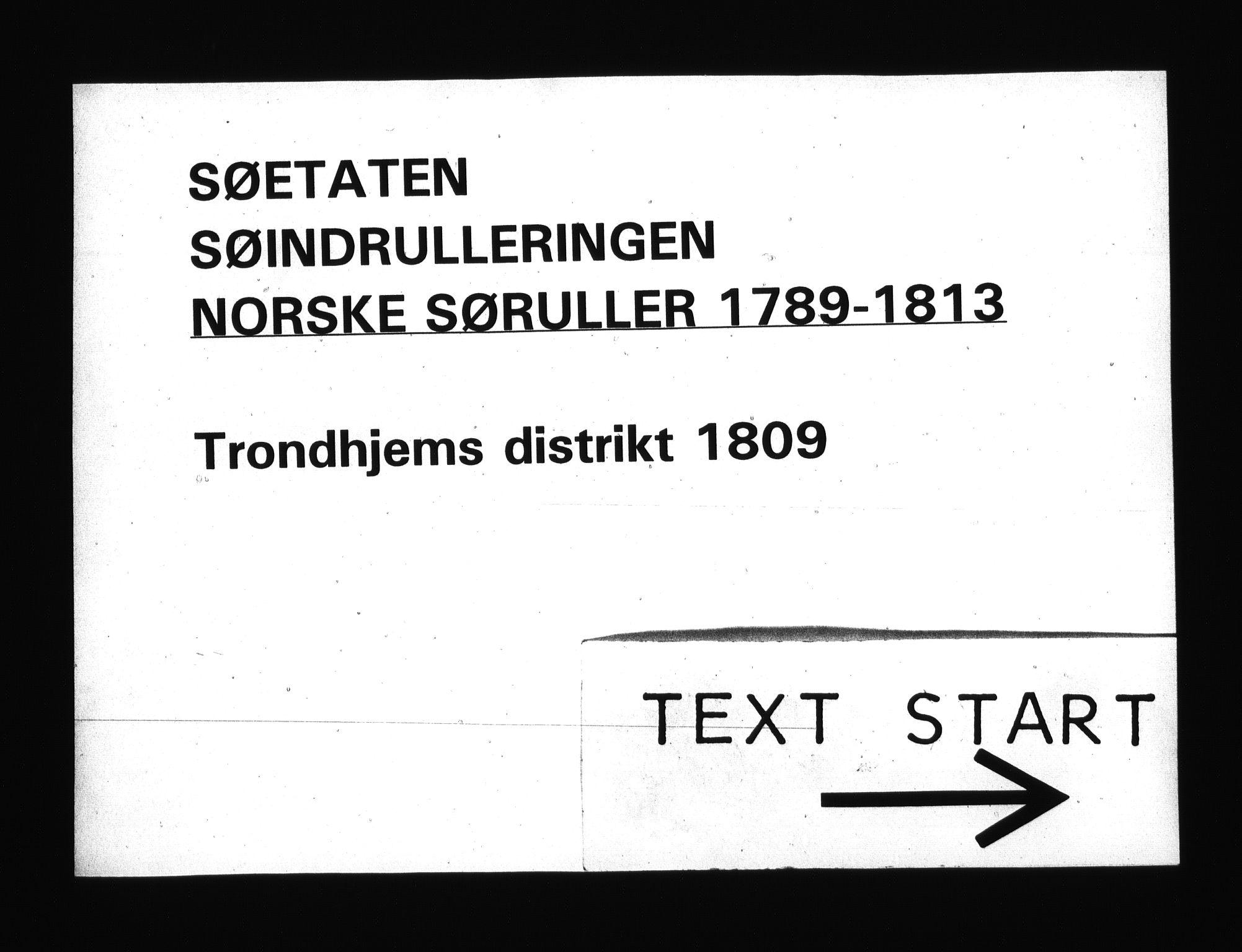 RA, Sjøetaten, F/L0336: Trondheim distrikt, bind 1, 1809