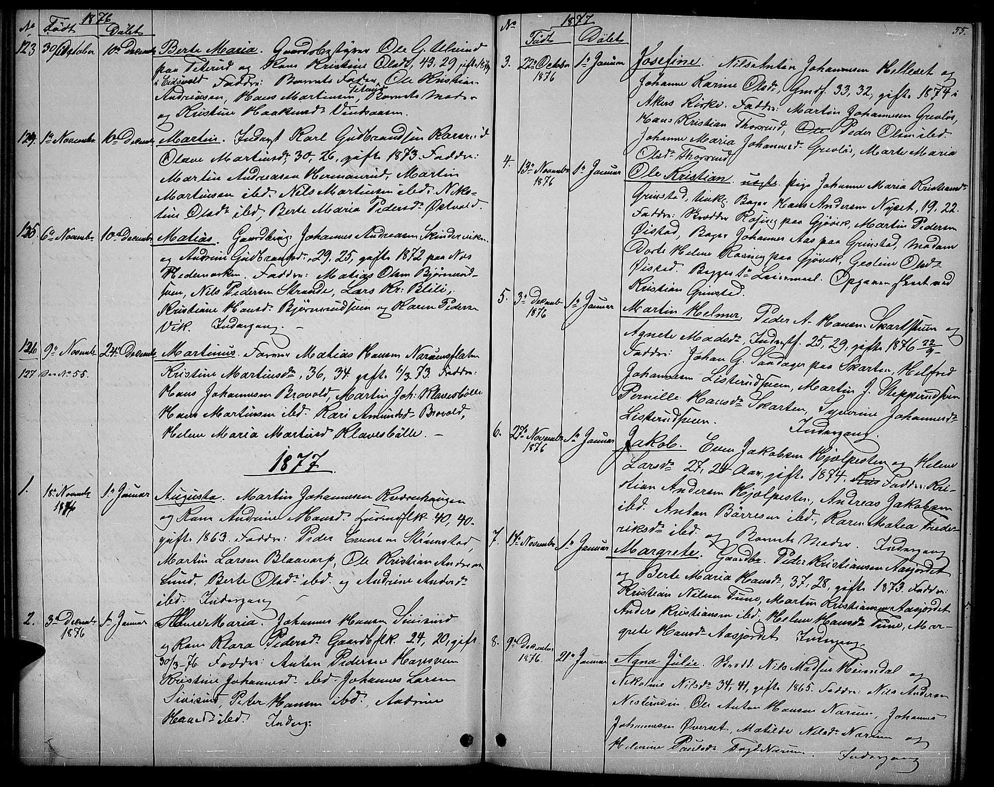 SAH, Vestre Toten prestekontor, H/Ha/Hab/L0006: Klokkerbok nr. 6, 1870-1887, s. 55