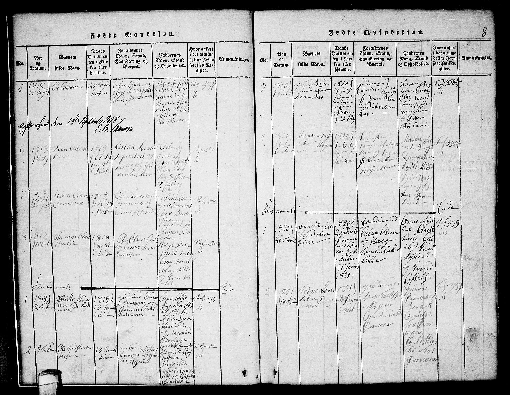 SAKO, Lårdal kirkebøker, G/Gc/L0001: Klokkerbok nr. III 1, 1815-1854, s. 8