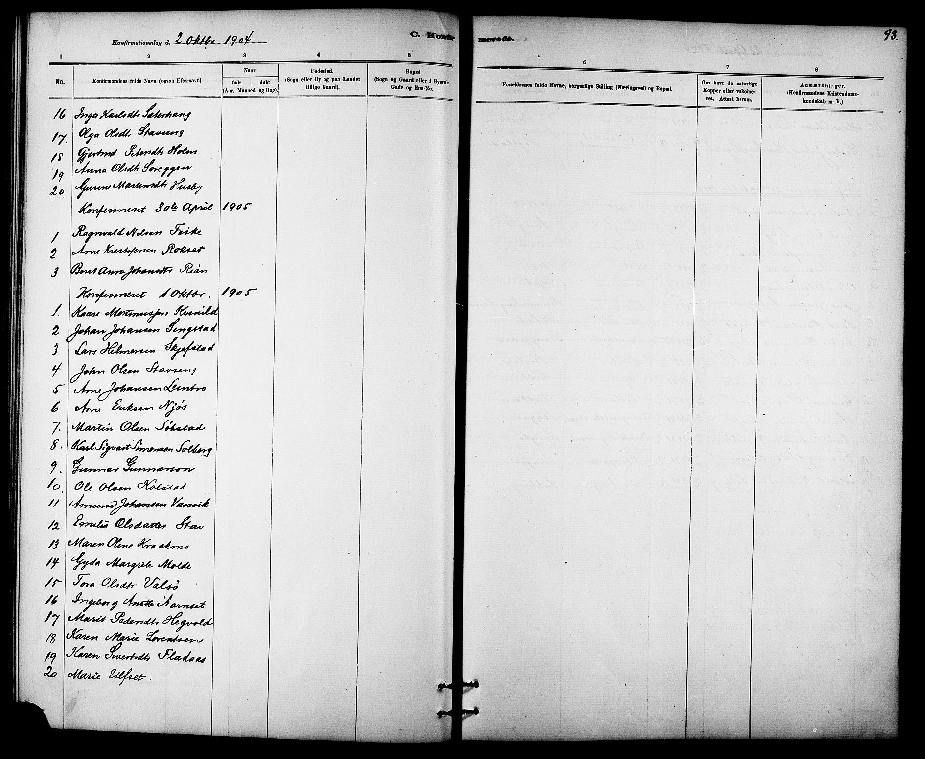 SAT, Ministerialprotokoller, klokkerbøker og fødselsregistre - Sør-Trøndelag, 613/L0395: Klokkerbok nr. 613C03, 1887-1909, s. 93