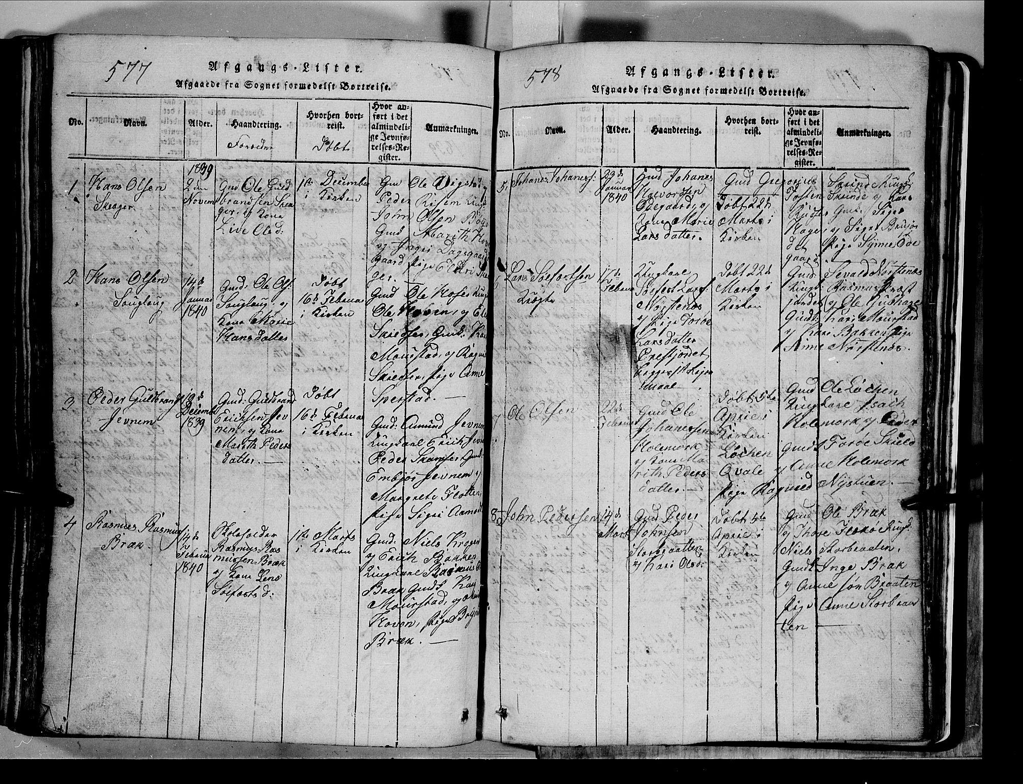 SAH, Lom prestekontor, L/L0003: Klokkerbok nr. 3, 1815-1844, s. 577-578