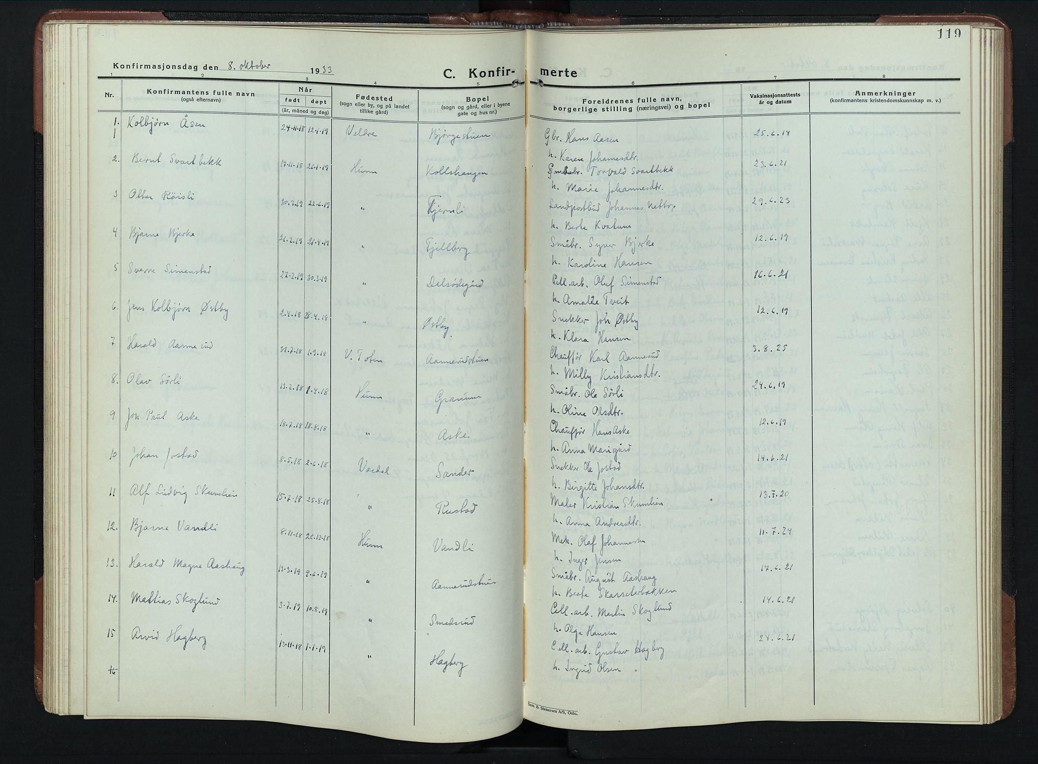 SAH, Vardal prestekontor, H/Ha/Hab/L0023: Klokkerbok nr. 23, 1929-1941, s. 119