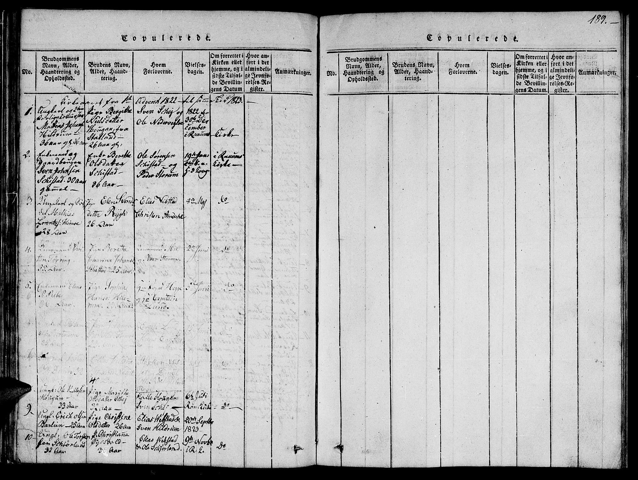 SAT, Ministerialprotokoller, klokkerbøker og fødselsregistre - Nord-Trøndelag, 764/L0559: Klokkerbok nr. 764C01, 1816-1824, s. 189