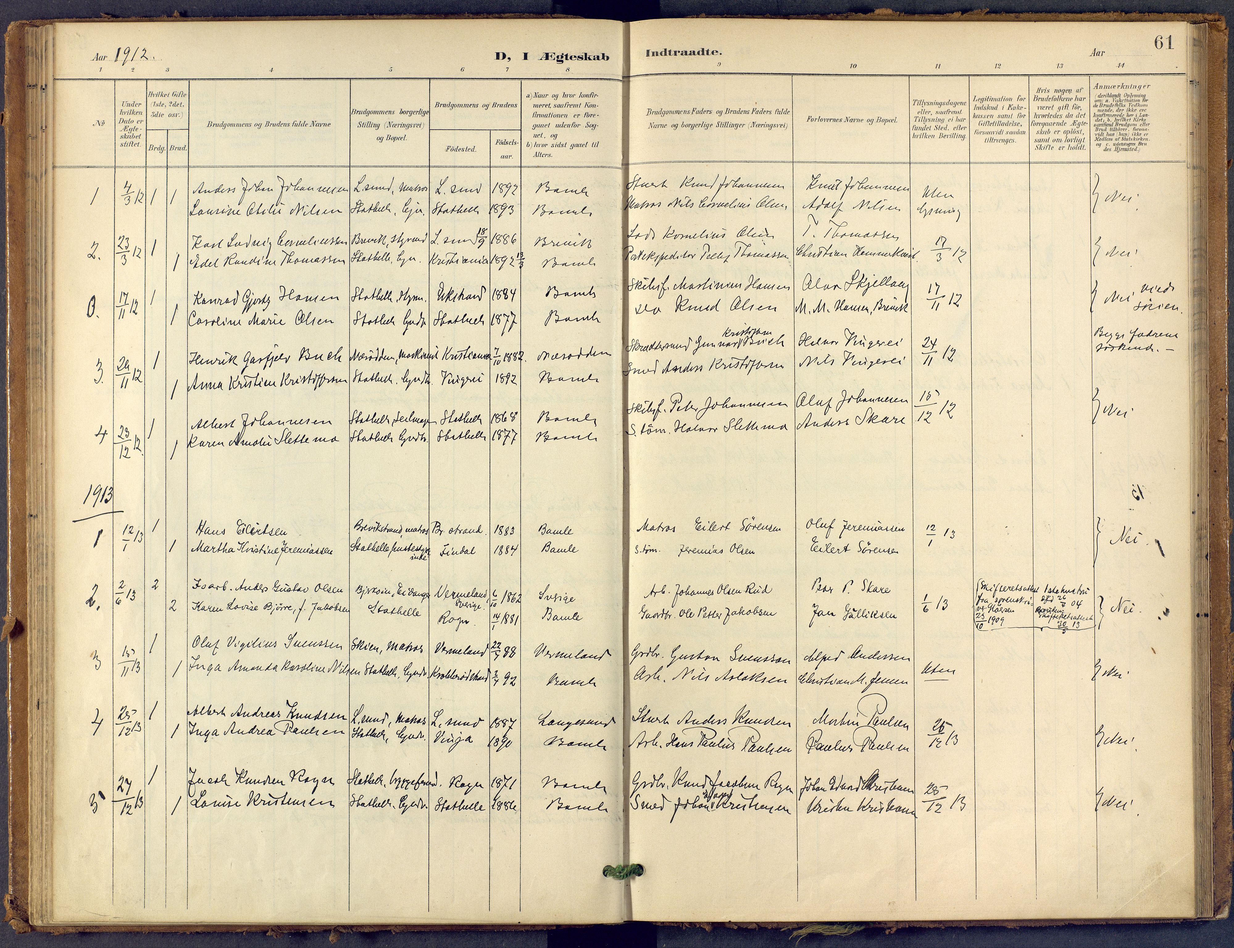 SAKO, Bamble kirkebøker, F/Fb/L0002: Ministerialbok nr. II 2, 1900-1921, s. 61