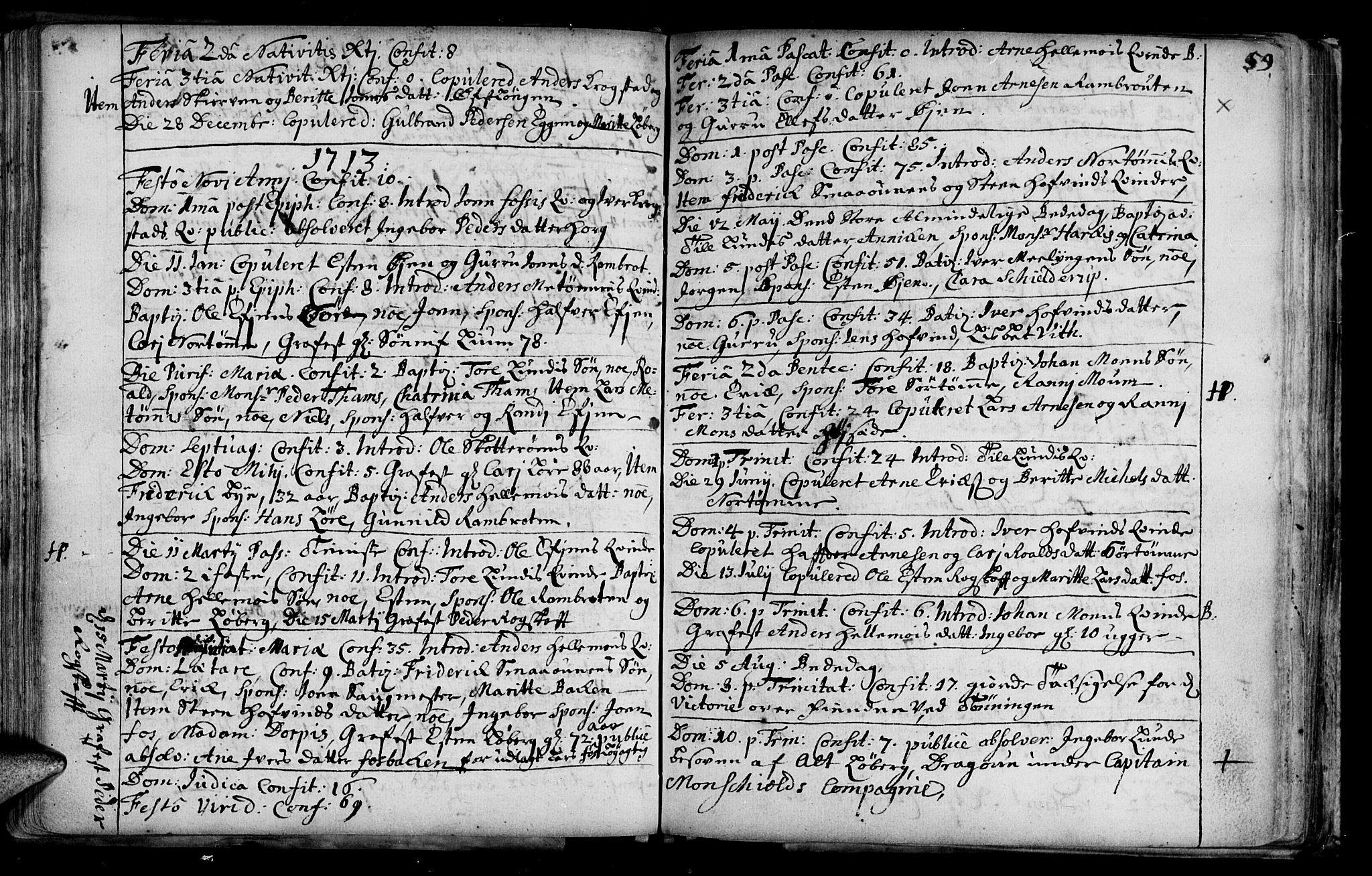 SAT, Ministerialprotokoller, klokkerbøker og fødselsregistre - Sør-Trøndelag, 692/L1101: Ministerialbok nr. 692A01, 1690-1746, s. 59