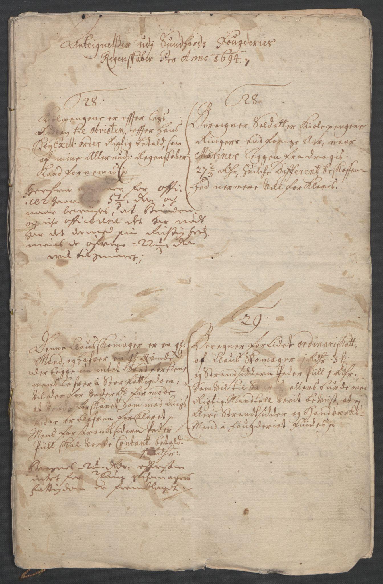 RA, Rentekammeret inntil 1814, Reviderte regnskaper, Fogderegnskap, R48/L2975: Fogderegnskap Sunnhordland og Hardanger, 1694, s. 150