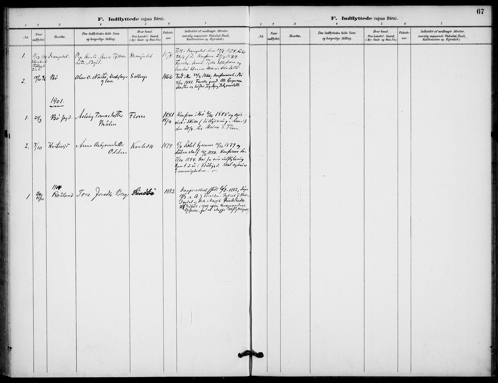SAKO, Lunde kirkebøker, F/Fb/L0004: Ministerialbok nr. II 4, 1892-1907, s. 67