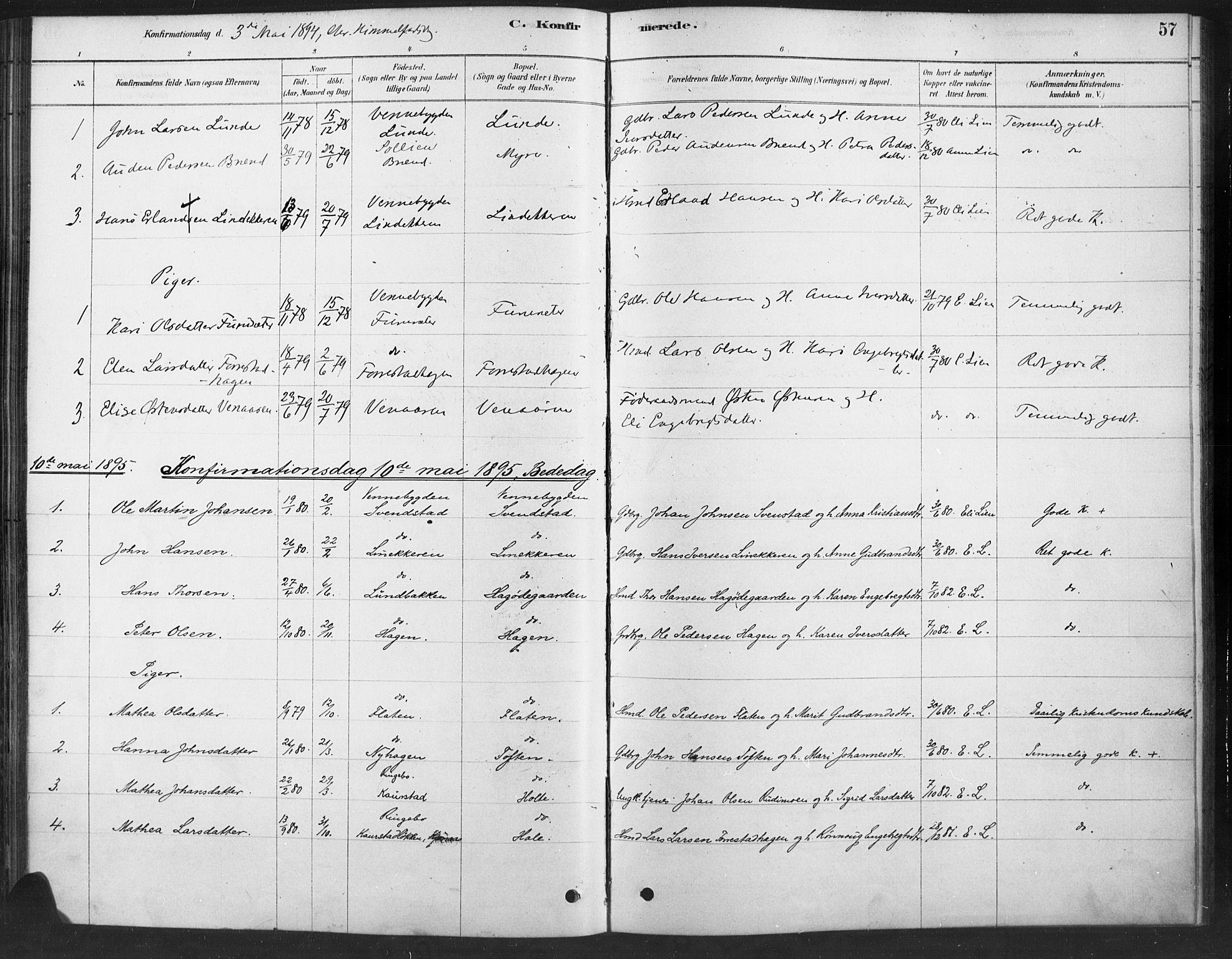 SAH, Ringebu prestekontor, Ministerialbok nr. 10, 1878-1898, s. 57