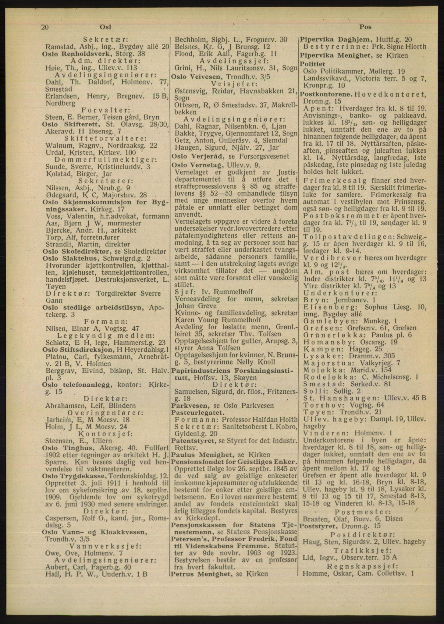 RA, Oslo adressebok (publikasjon)*, 1948, s. 20