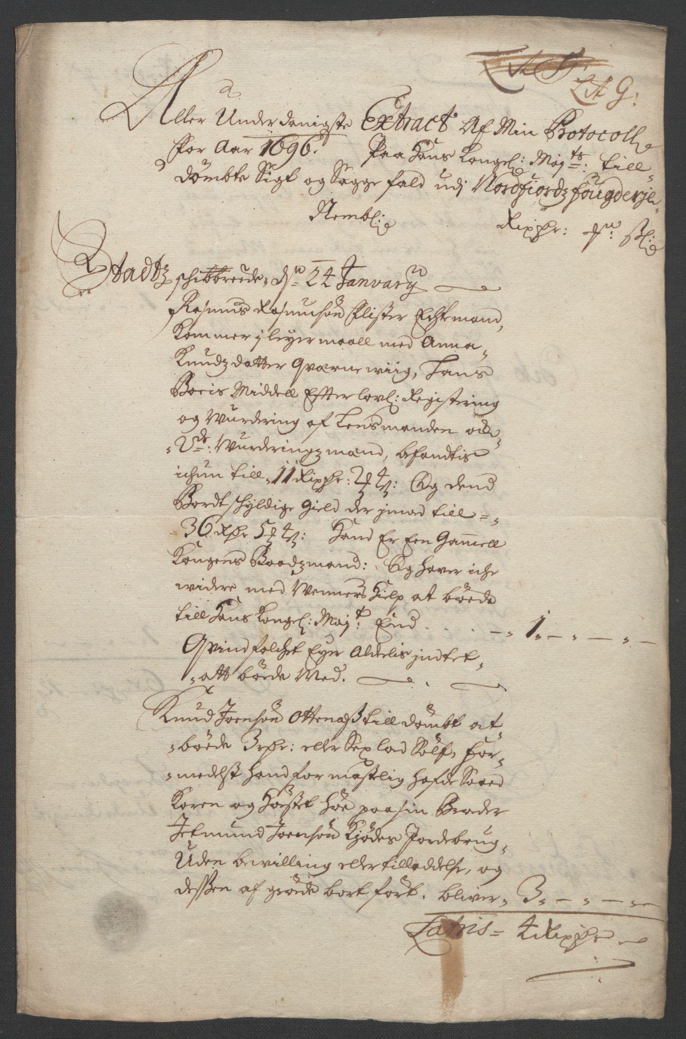 RA, Rentekammeret inntil 1814, Reviderte regnskaper, Fogderegnskap, R53/L3422: Fogderegnskap Sunn- og Nordfjord, 1695-1696, s. 376