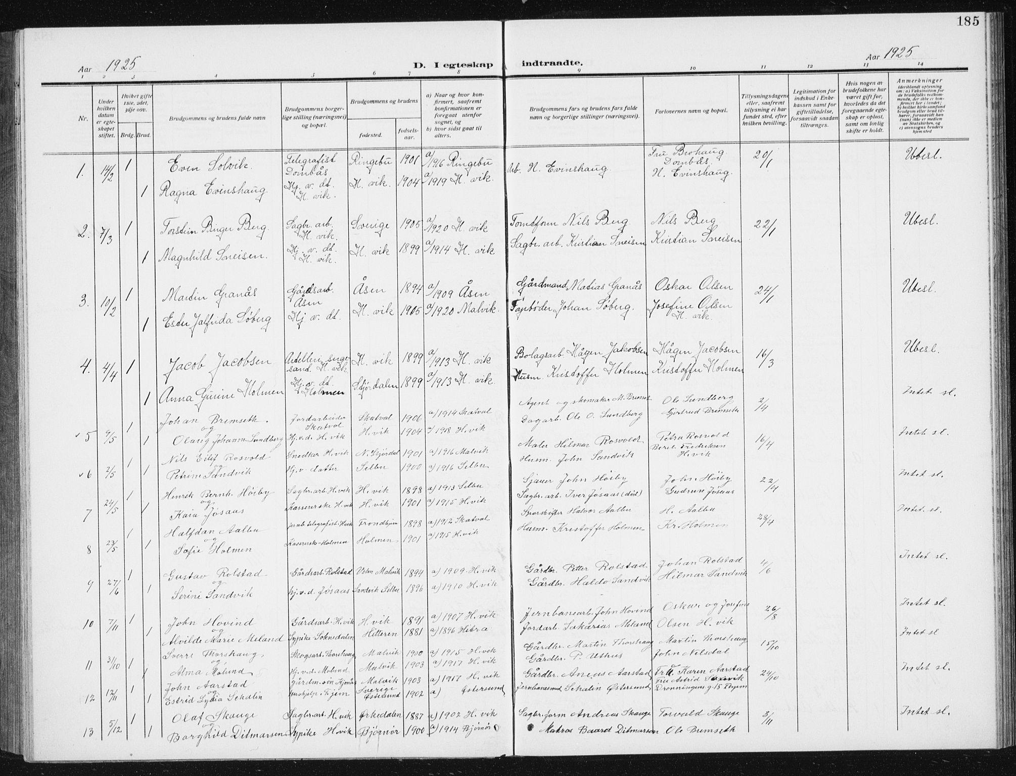 SAT, Ministerialprotokoller, klokkerbøker og fødselsregistre - Sør-Trøndelag, 617/L0431: Klokkerbok nr. 617C02, 1910-1936, s. 185