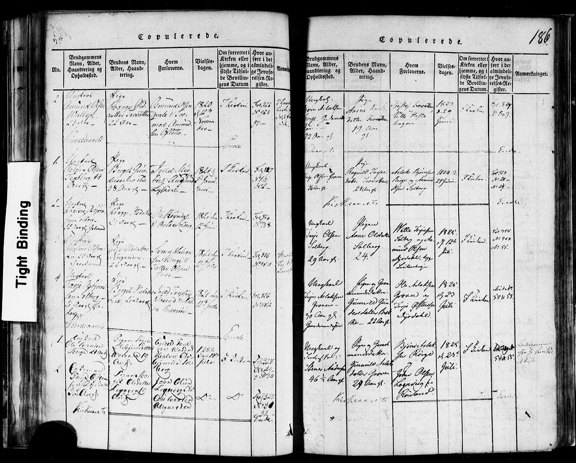 SAKO, Rauland kirkebøker, F/Fa/L0002: Ministerialbok nr. 2, 1815-1860, s. 186