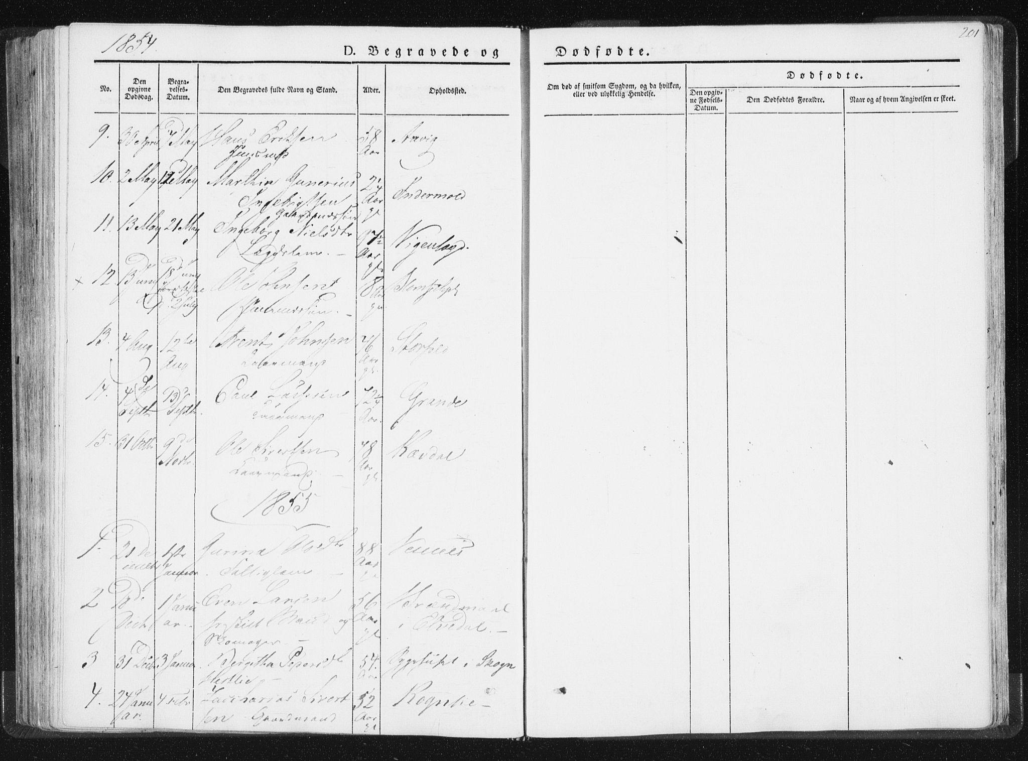 SAT, Ministerialprotokoller, klokkerbøker og fødselsregistre - Nord-Trøndelag, 744/L0418: Ministerialbok nr. 744A02, 1843-1866, s. 201