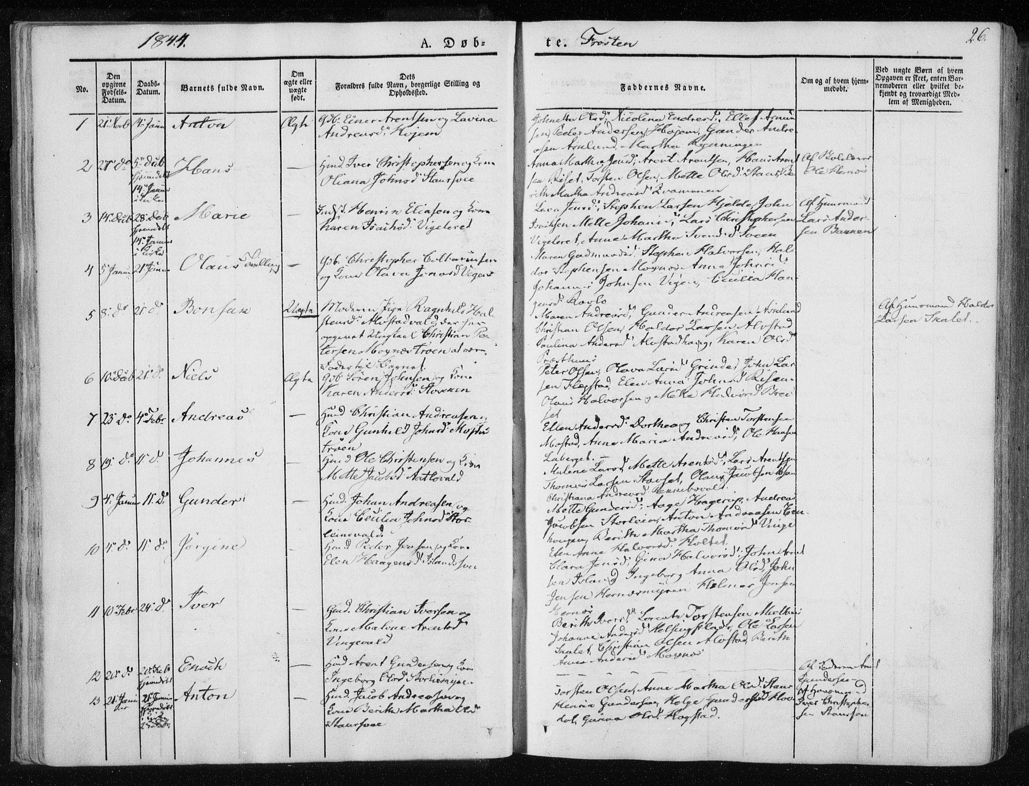 SAT, Ministerialprotokoller, klokkerbøker og fødselsregistre - Nord-Trøndelag, 713/L0115: Ministerialbok nr. 713A06, 1838-1851, s. 26
