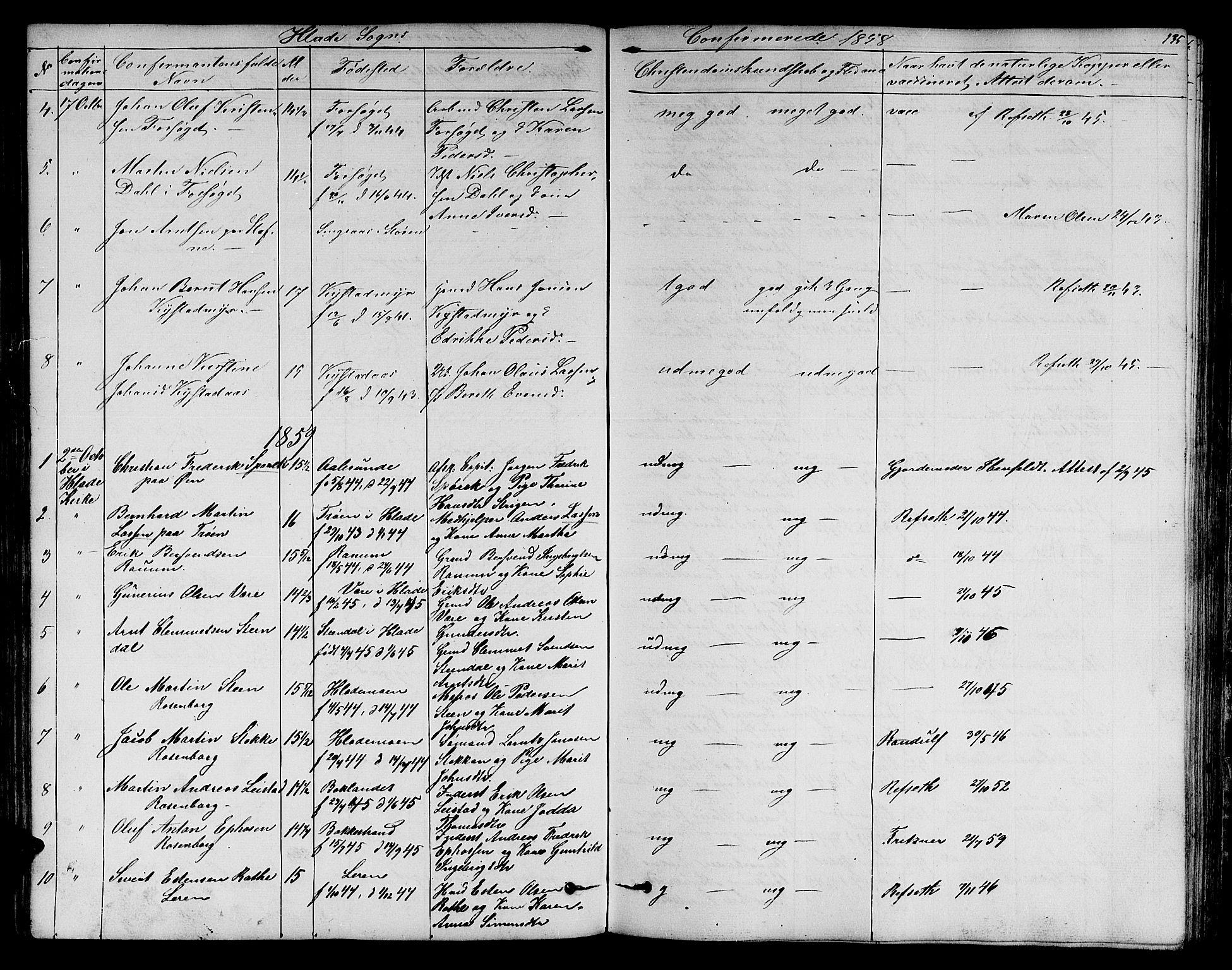 SAT, Ministerialprotokoller, klokkerbøker og fødselsregistre - Sør-Trøndelag, 606/L0310: Klokkerbok nr. 606C06, 1850-1859, s. 135