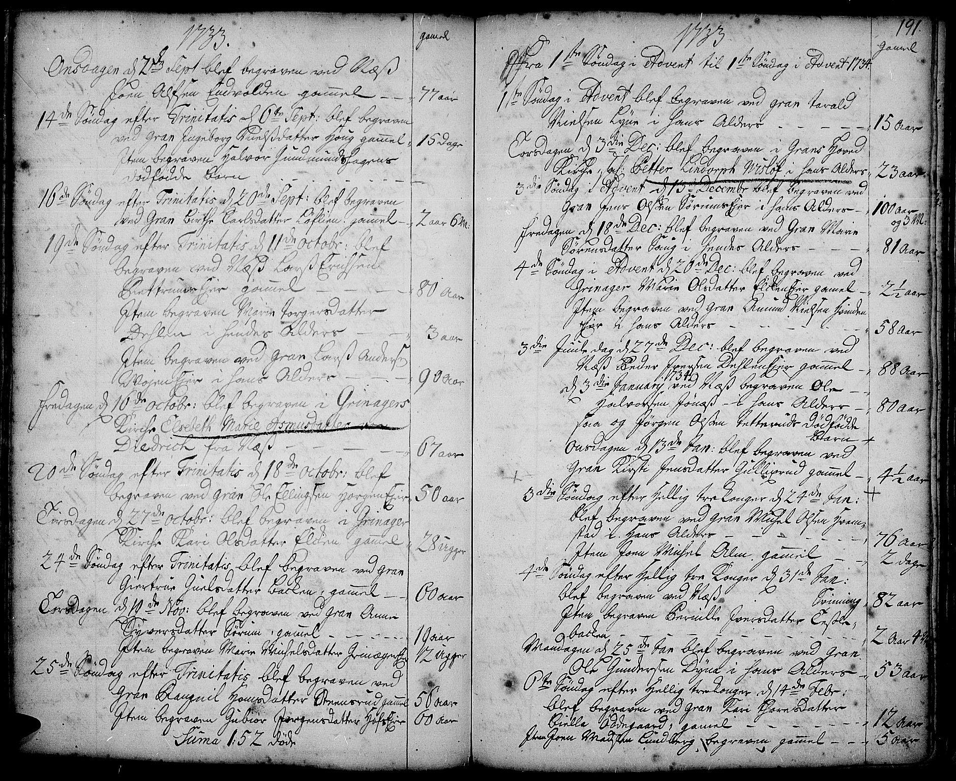 SAH, Gran prestekontor, Ministerialbok nr. 2, 1732-1744, s. 191
