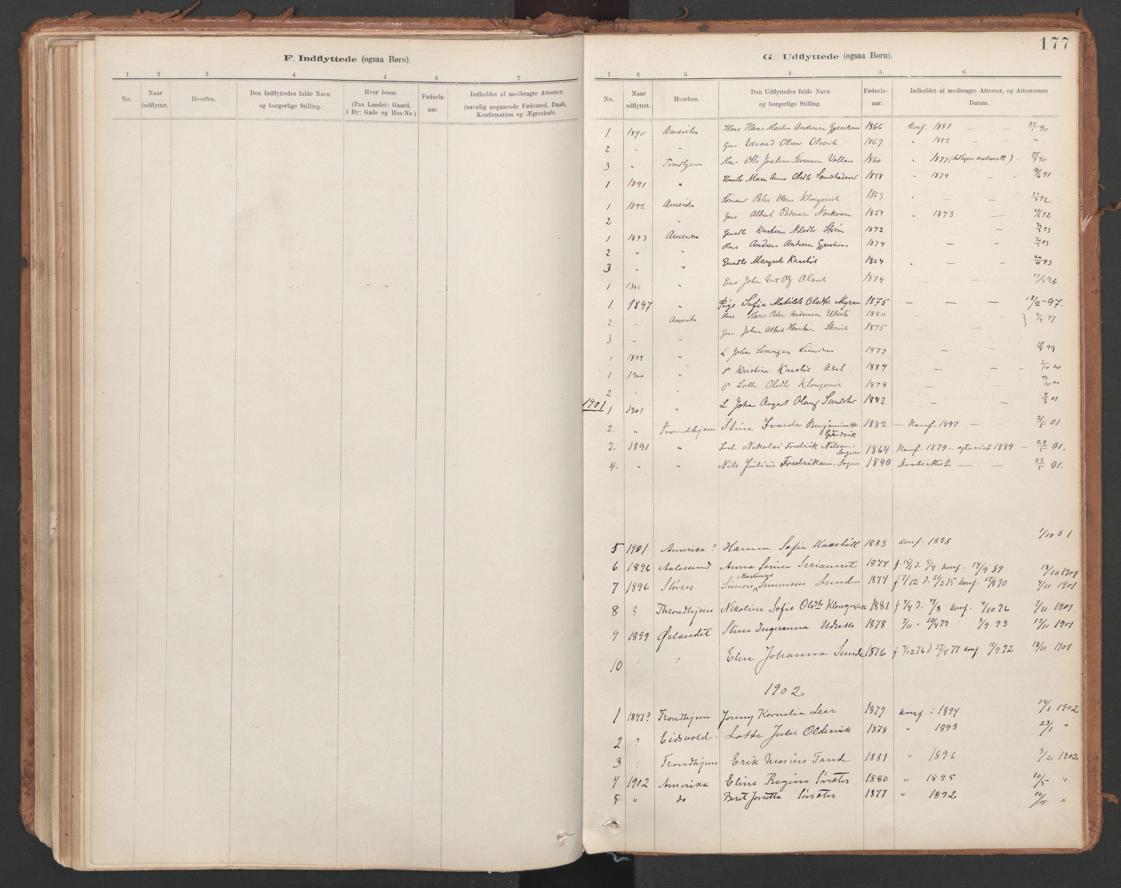 SAT, Ministerialprotokoller, klokkerbøker og fødselsregistre - Sør-Trøndelag, 639/L0572: Ministerialbok nr. 639A01, 1890-1920, s. 177