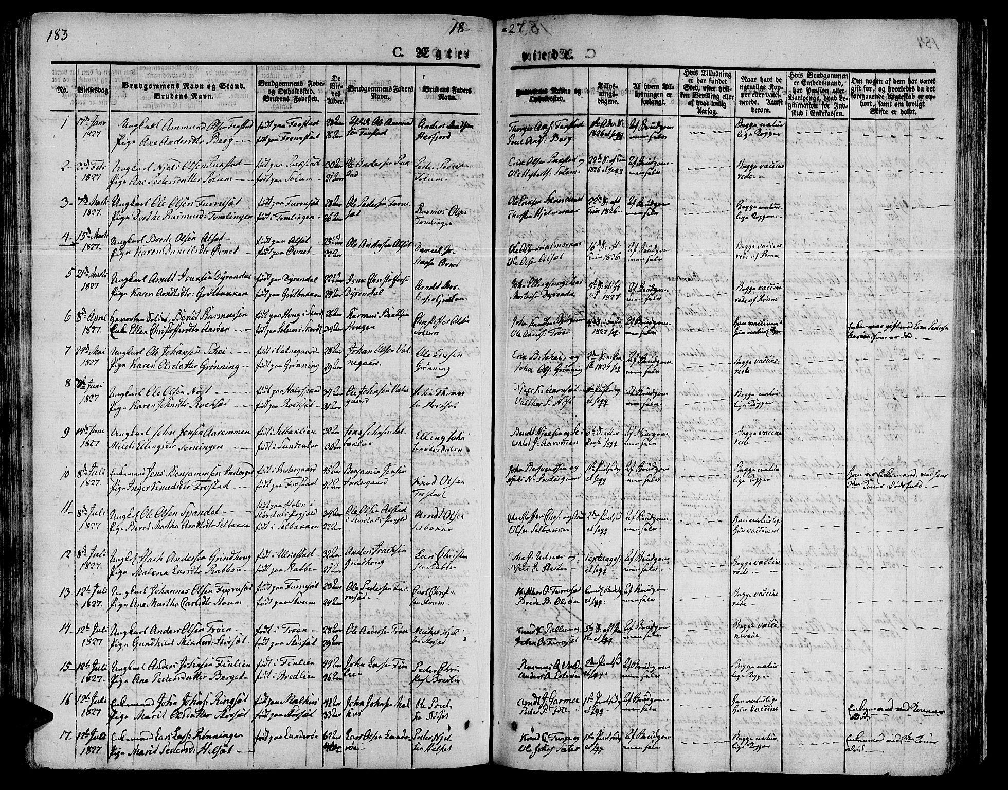 SAT, Ministerialprotokoller, klokkerbøker og fødselsregistre - Sør-Trøndelag, 646/L0609: Ministerialbok nr. 646A07, 1826-1838, s. 183