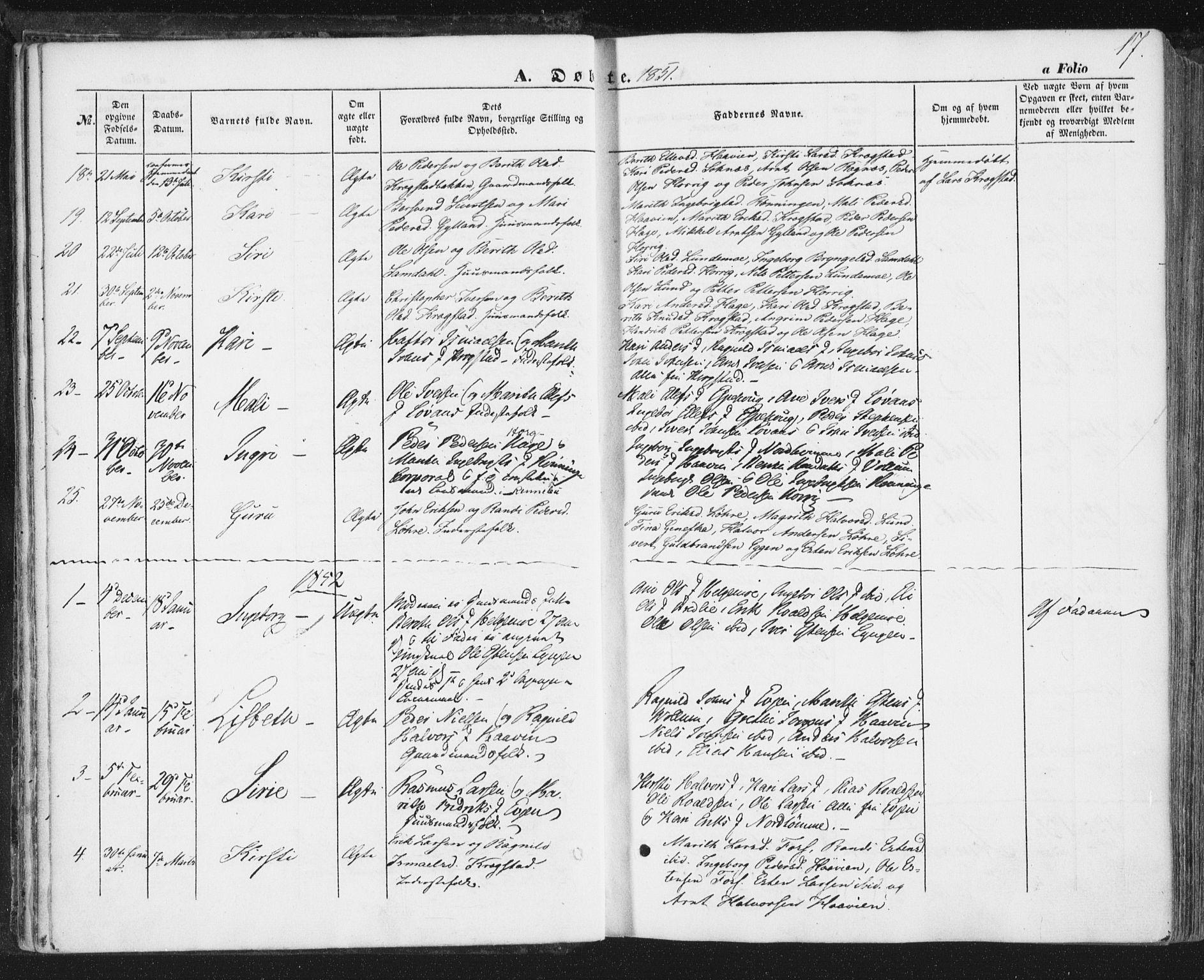 SAT, Ministerialprotokoller, klokkerbøker og fødselsregistre - Sør-Trøndelag, 692/L1103: Ministerialbok nr. 692A03, 1849-1870, s. 17