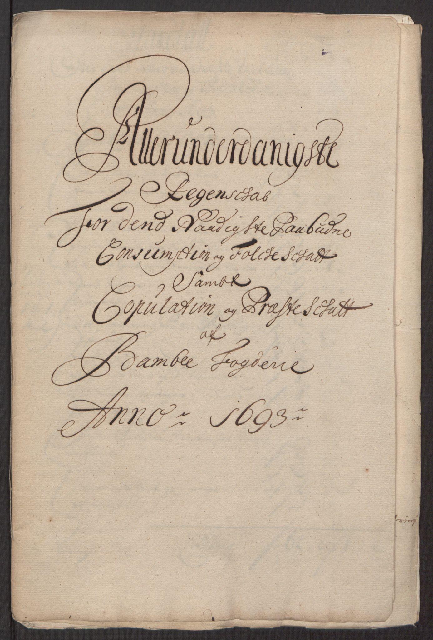 RA, Rentekammeret inntil 1814, Reviderte regnskaper, Fogderegnskap, R34/L2052: Fogderegnskap Bamble, 1692-1693, s. 339
