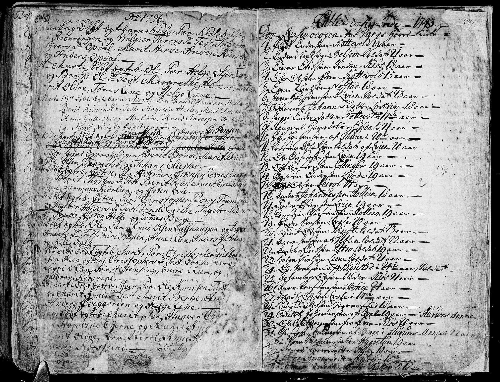 SAH, Vang prestekontor, Valdres, Ministerialbok nr. 1, 1730-1796, s. 540-541