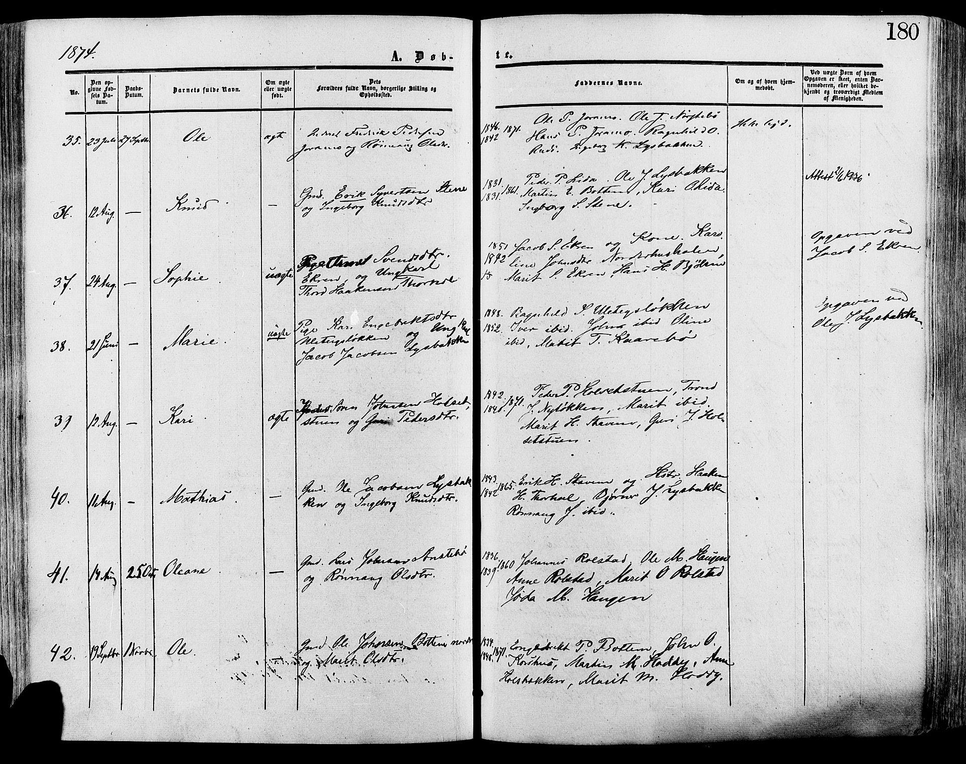 SAH, Lesja prestekontor, Ministerialbok nr. 8, 1854-1880, s. 180