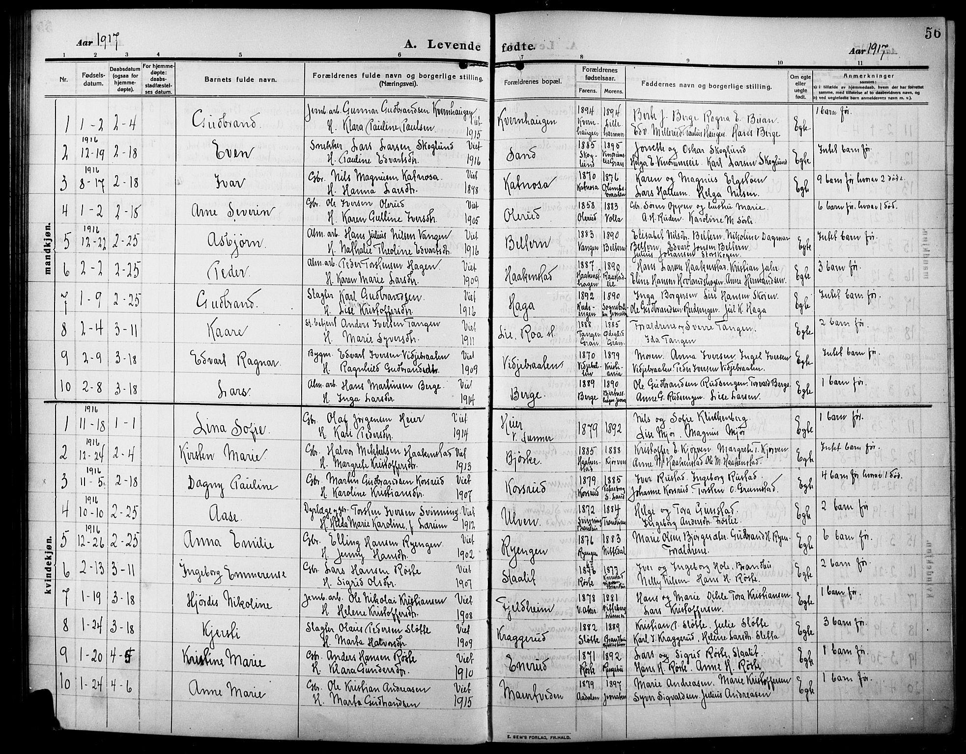 SAH, Lunner prestekontor, H/Ha/Hab/L0001: Klokkerbok nr. 1, 1909-1922, s. 56