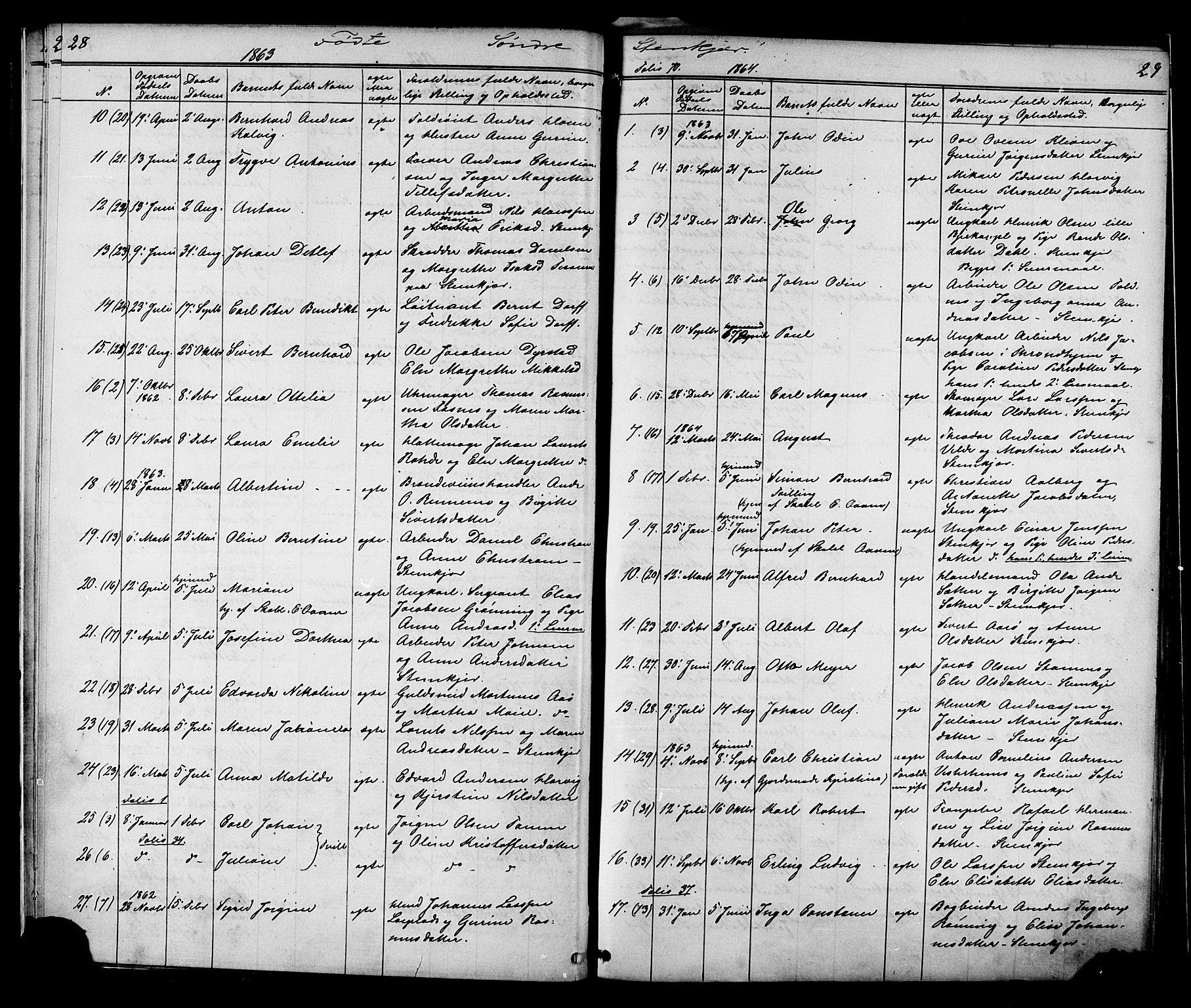 SAT, Ministerialprotokoller, klokkerbøker og fødselsregistre - Nord-Trøndelag, 739/L0367: Ministerialbok nr. 739A01 /1, 1838-1868, s. 28-29