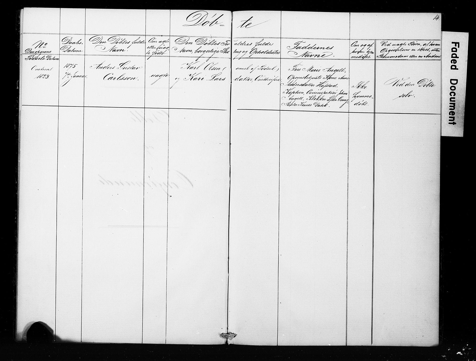 SAB, Bergens strafanstalts sokneprestembete*, Klokkerbok nr. A 1, 1874-1884, s. 14
