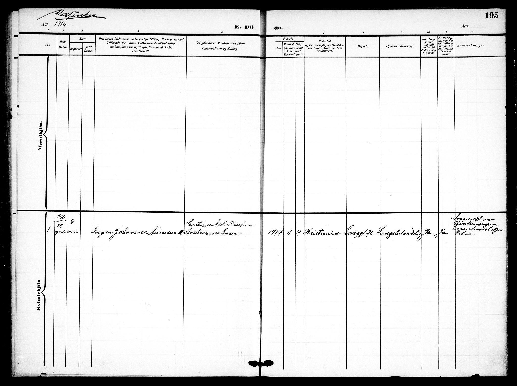 SAO, Petrus prestekontor Kirkebøker, F/Fa/L0010: Ministerialbok nr. 10, 1904-1916, s. 195