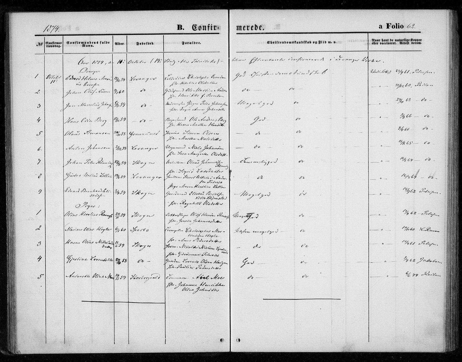 SAT, Ministerialprotokoller, klokkerbøker og fødselsregistre - Nord-Trøndelag, 720/L0186: Ministerialbok nr. 720A03, 1864-1874, s. 62