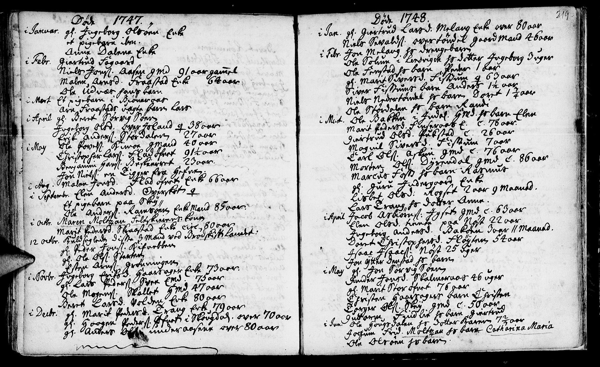 SAT, Ministerialprotokoller, klokkerbøker og fødselsregistre - Sør-Trøndelag, 646/L0604: Ministerialbok nr. 646A02, 1735-1750, s. 218-219