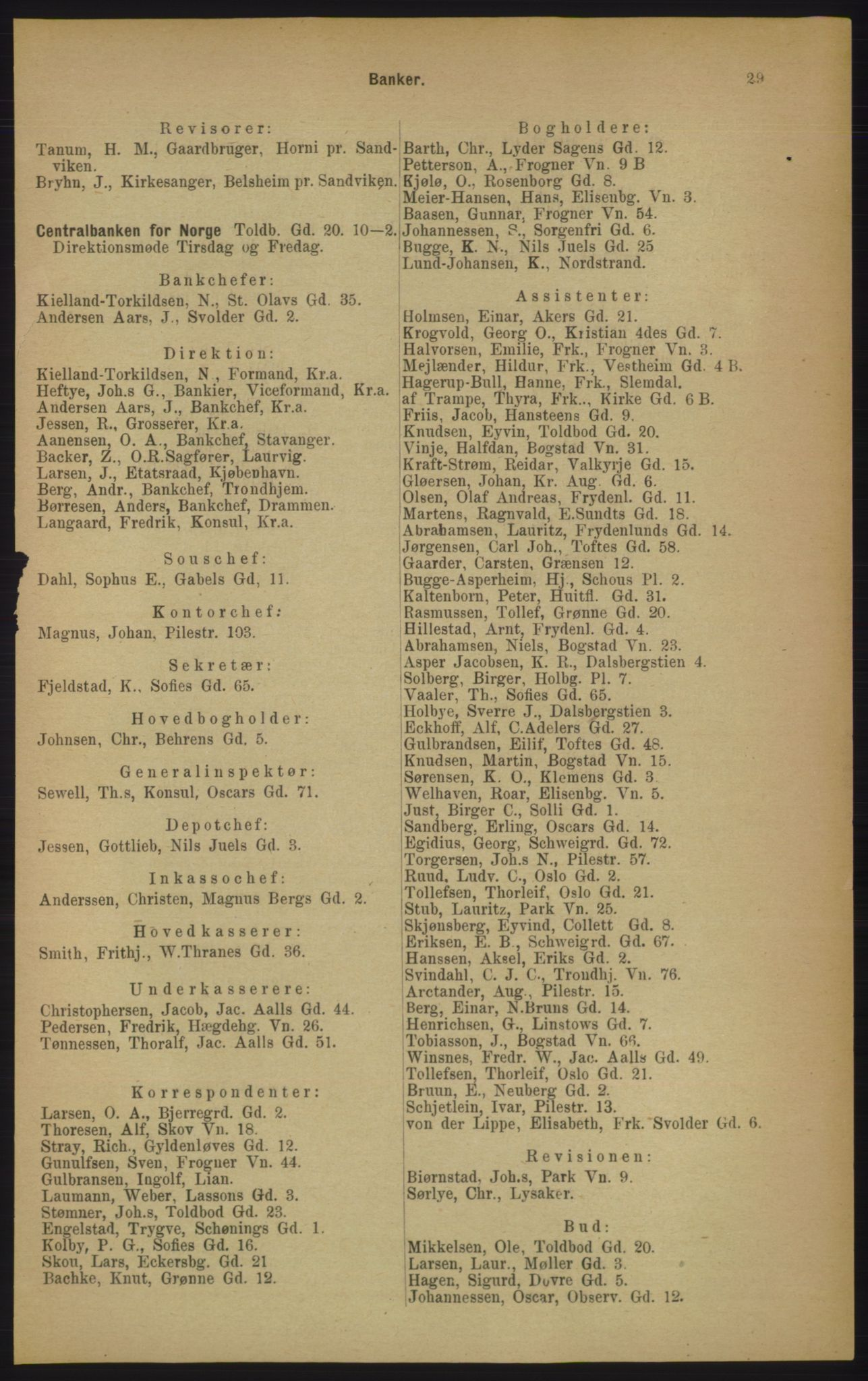 RA, Kristiania adressebok (publikasjon)*, 1906, s. 29