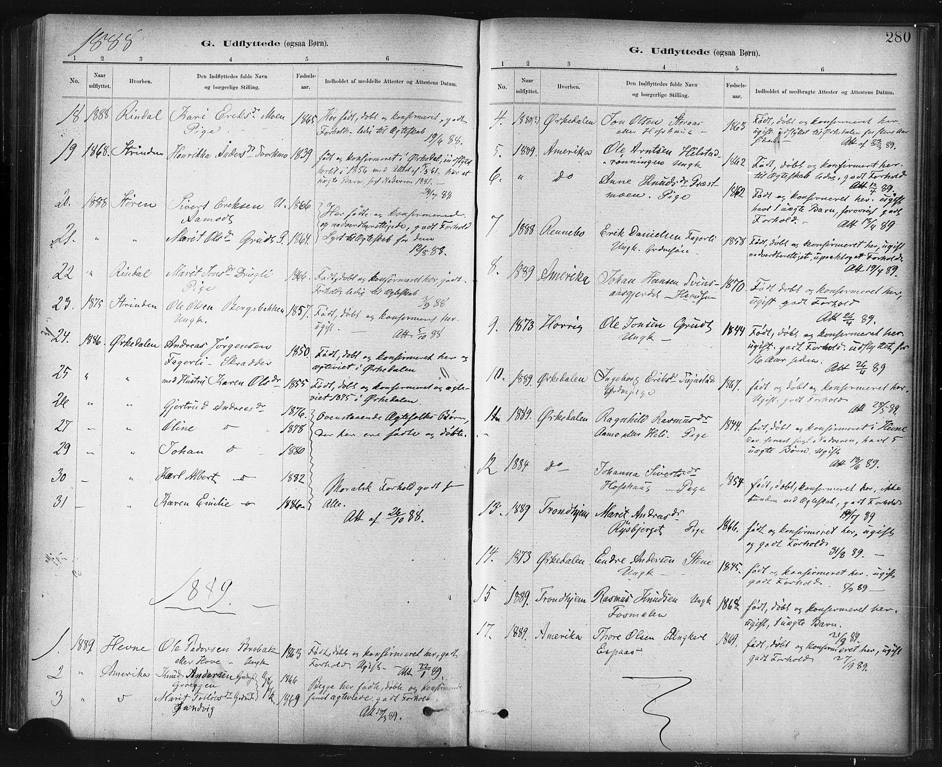 SAT, Ministerialprotokoller, klokkerbøker og fødselsregistre - Sør-Trøndelag, 672/L0857: Ministerialbok nr. 672A09, 1882-1893, s. 280