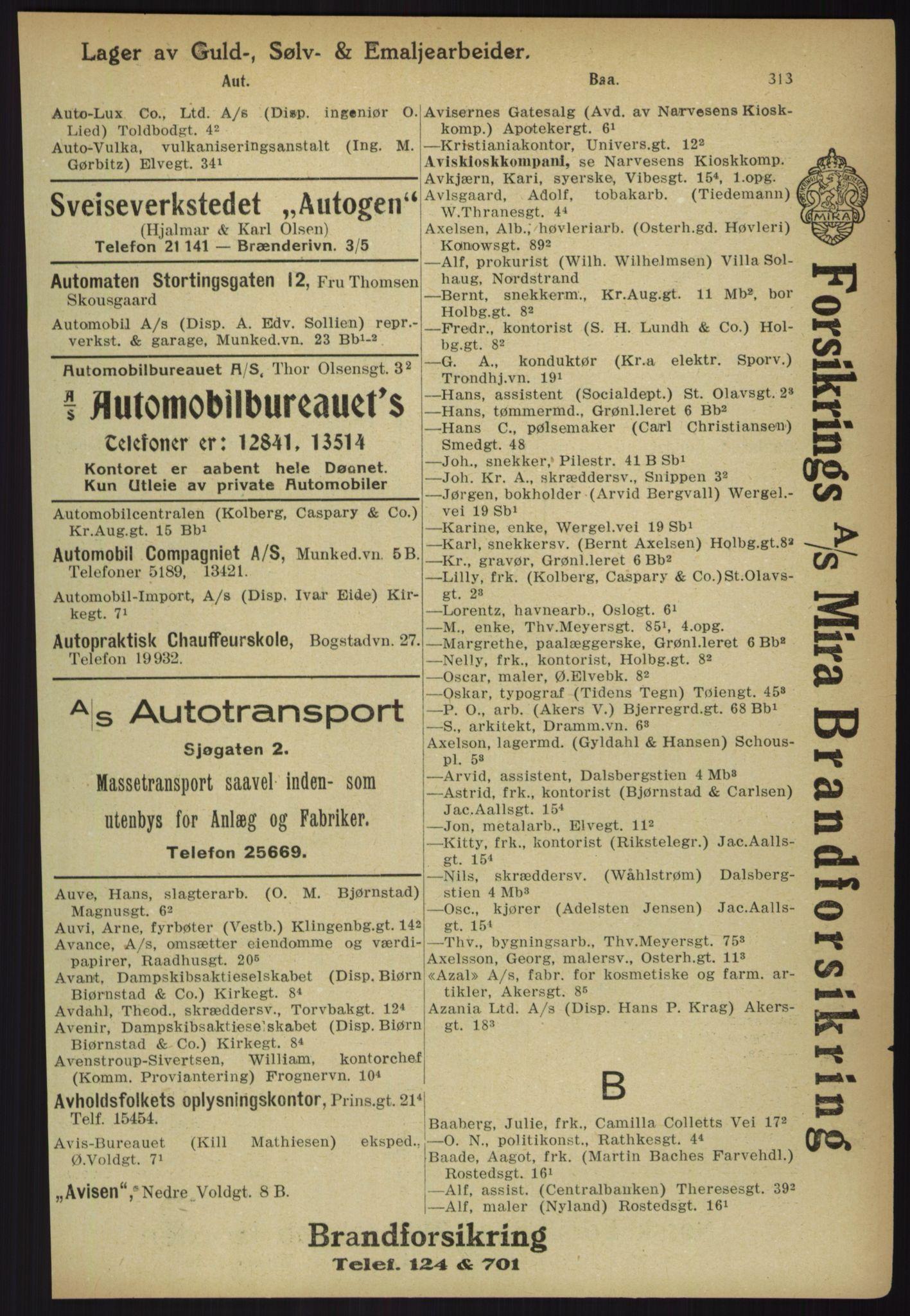 RA, Kristiania adressebok (publikasjon)*, 1918, s. 313