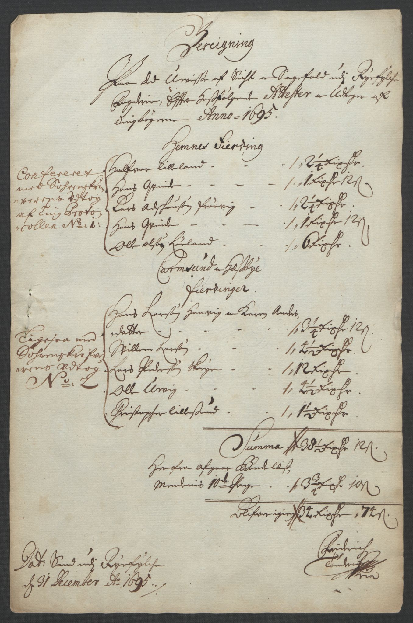 RA, Rentekammeret inntil 1814, Reviderte regnskaper, Fogderegnskap, R47/L2857: Fogderegnskap Ryfylke, 1694-1696, s. 126