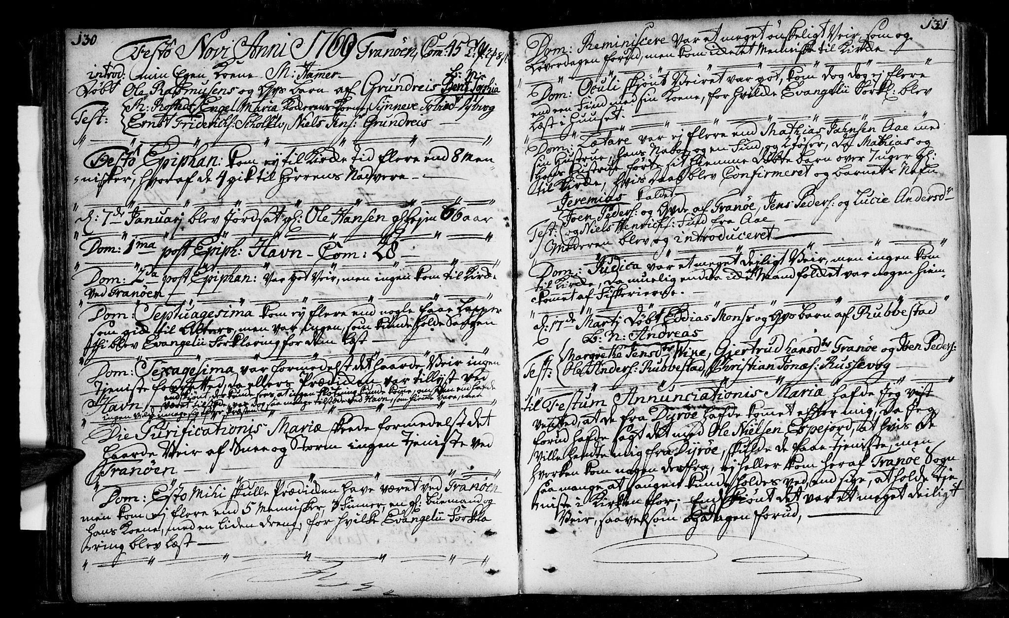 SATØ, Tranøy sokneprestkontor, I/Ia/Iaa/L0001kirke: Ministerialbok nr. 1, 1757-1773, s. 130-131