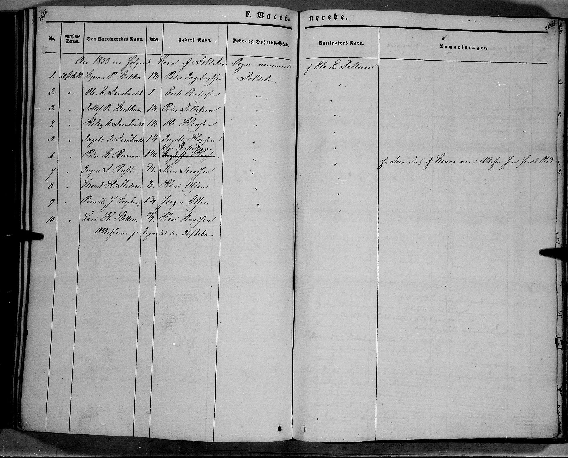 SAH, Lesja prestekontor, Ministerialbok nr. 6B, 1843-1854, s. 1054-1055