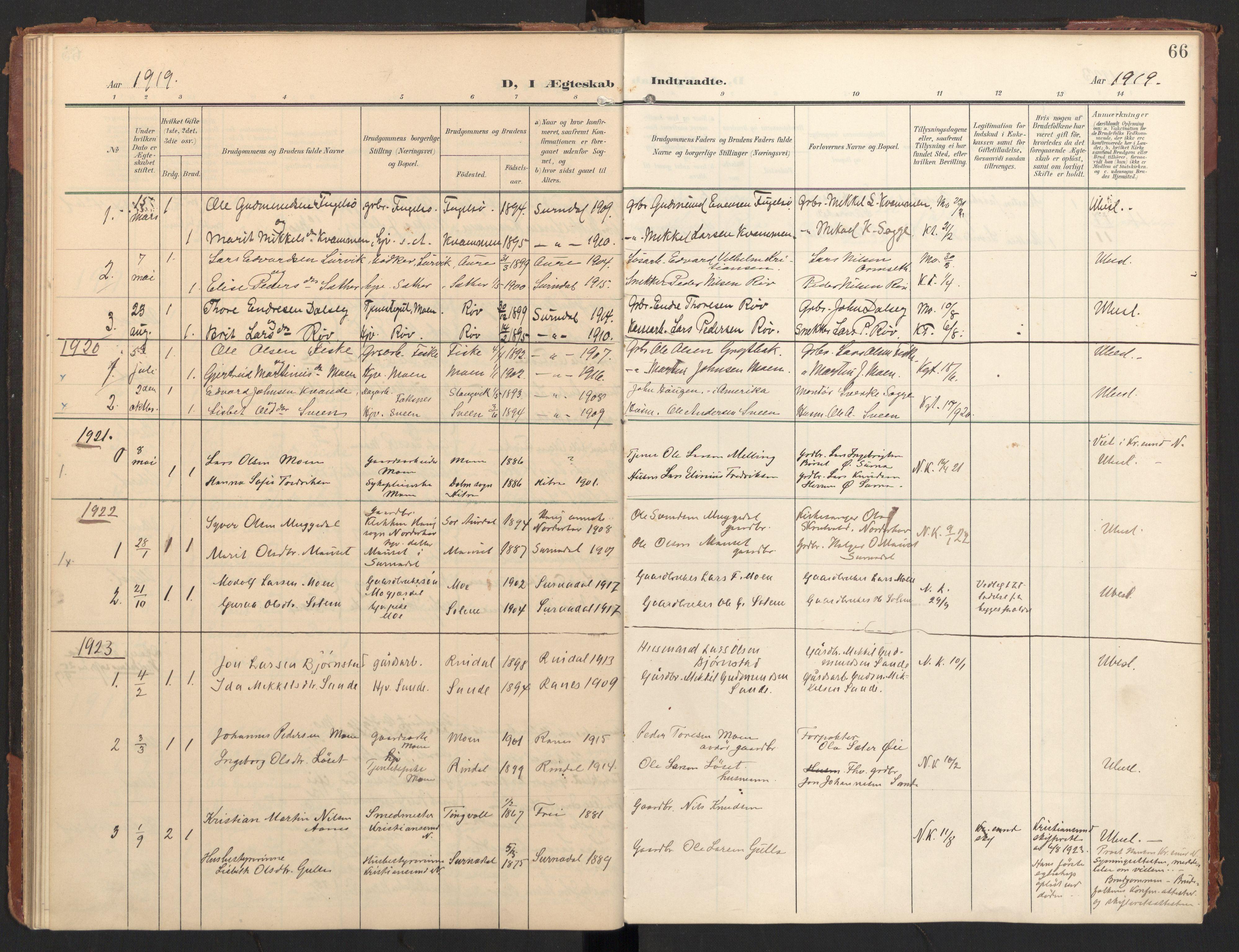 SAT, Ministerialprotokoller, klokkerbøker og fødselsregistre - Møre og Romsdal, 597/L1063: Ministerialbok nr. 597A02, 1905-1923, s. 66