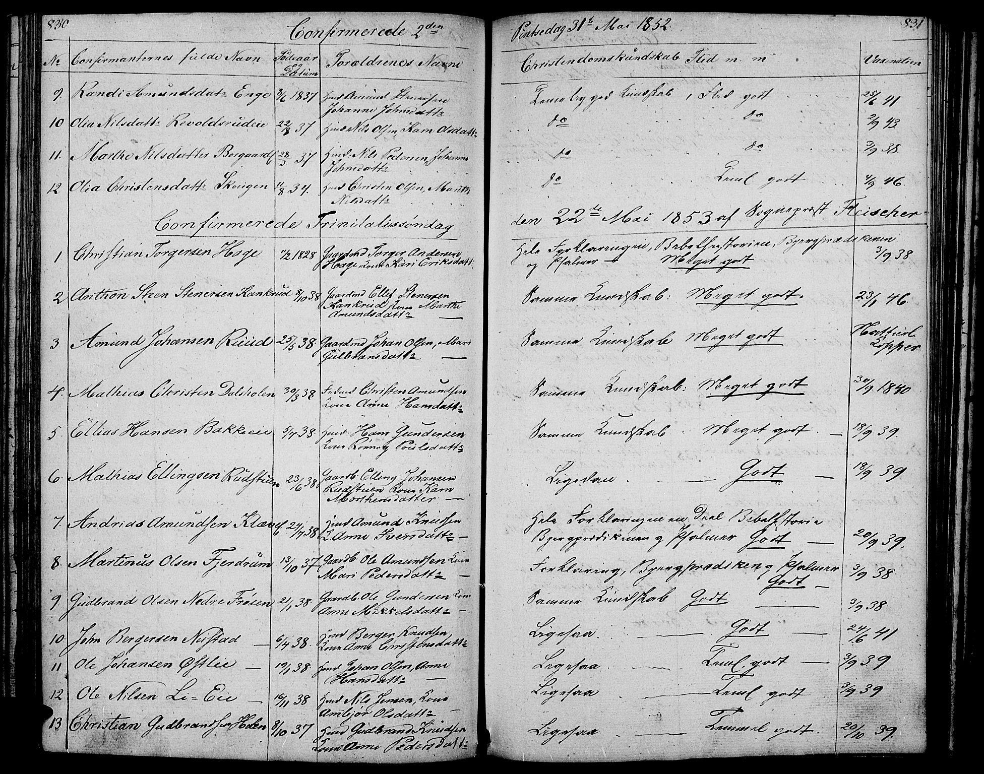 SAH, Gausdal prestekontor, Klokkerbok nr. 4, 1835-1870, s. 830-831