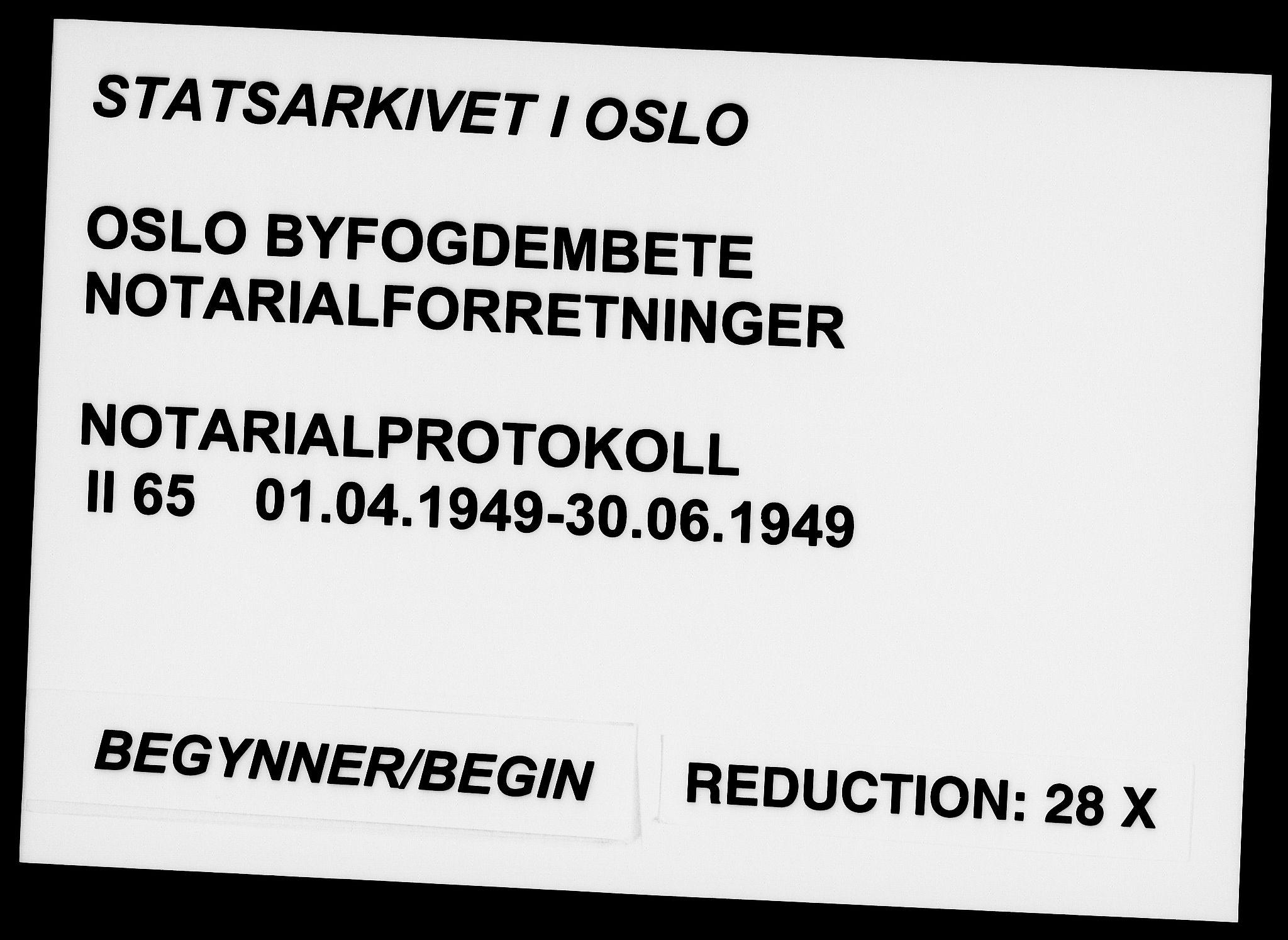 SAO, Oslo byfogd avd. I, L/Lb/Lbb/L0065: Notarialprotokoll, rekke II: Vigsler, 1949, s. upaginert