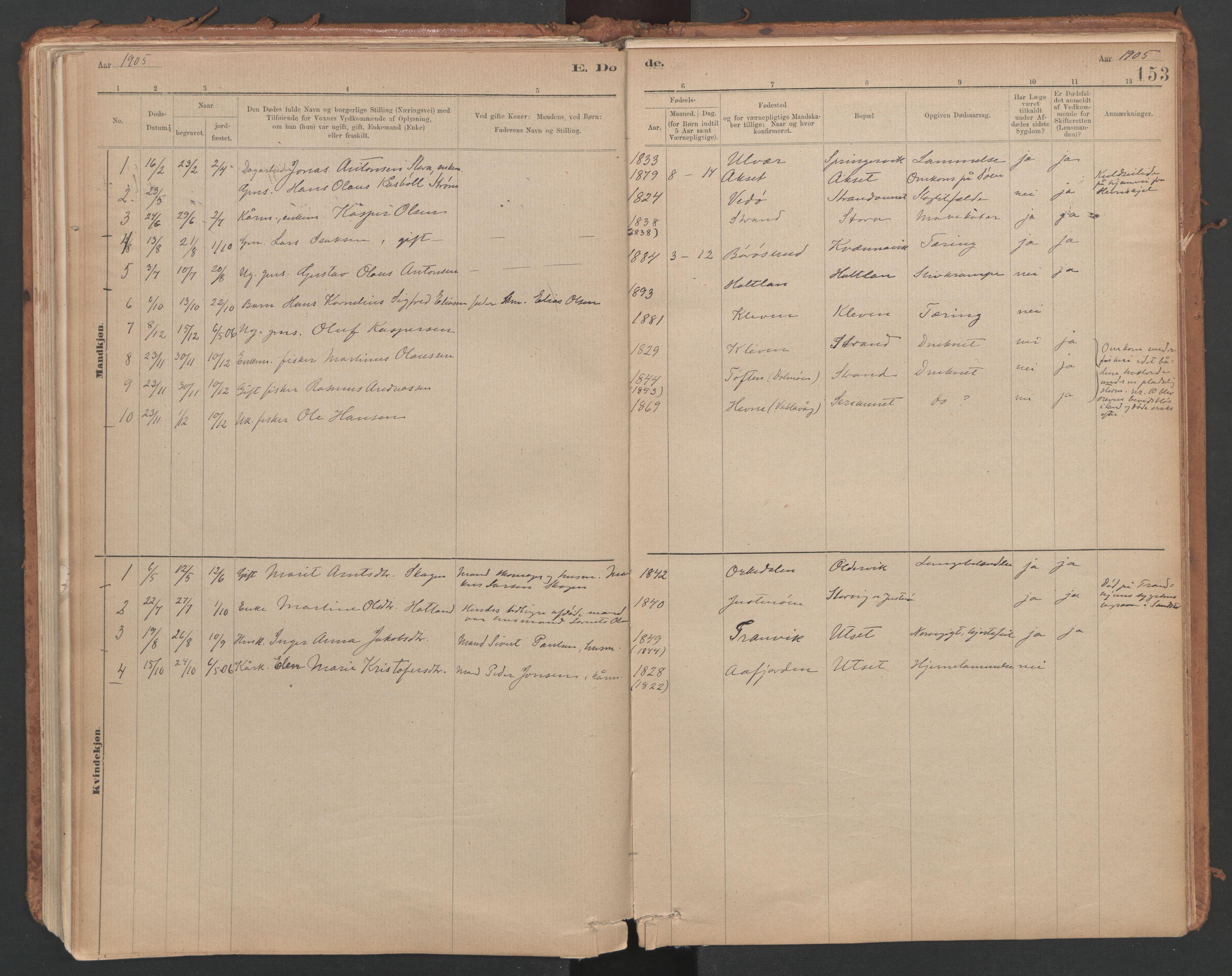 SAT, Ministerialprotokoller, klokkerbøker og fødselsregistre - Sør-Trøndelag, 639/L0572: Ministerialbok nr. 639A01, 1890-1920, s. 153