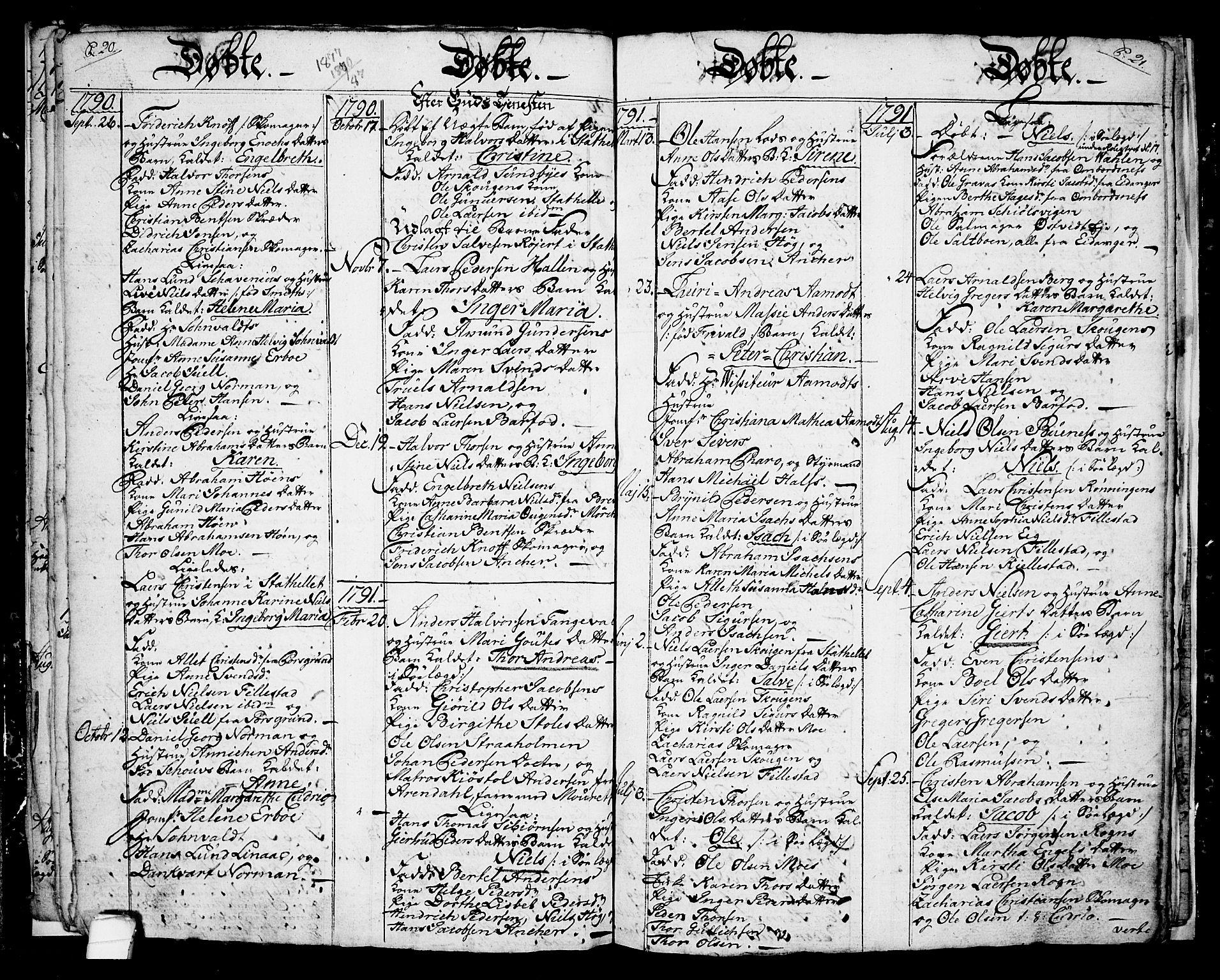 SAKO, Langesund kirkebøker, G/Ga/L0001: Klokkerbok nr. 1, 1783-1801, s. 20-21